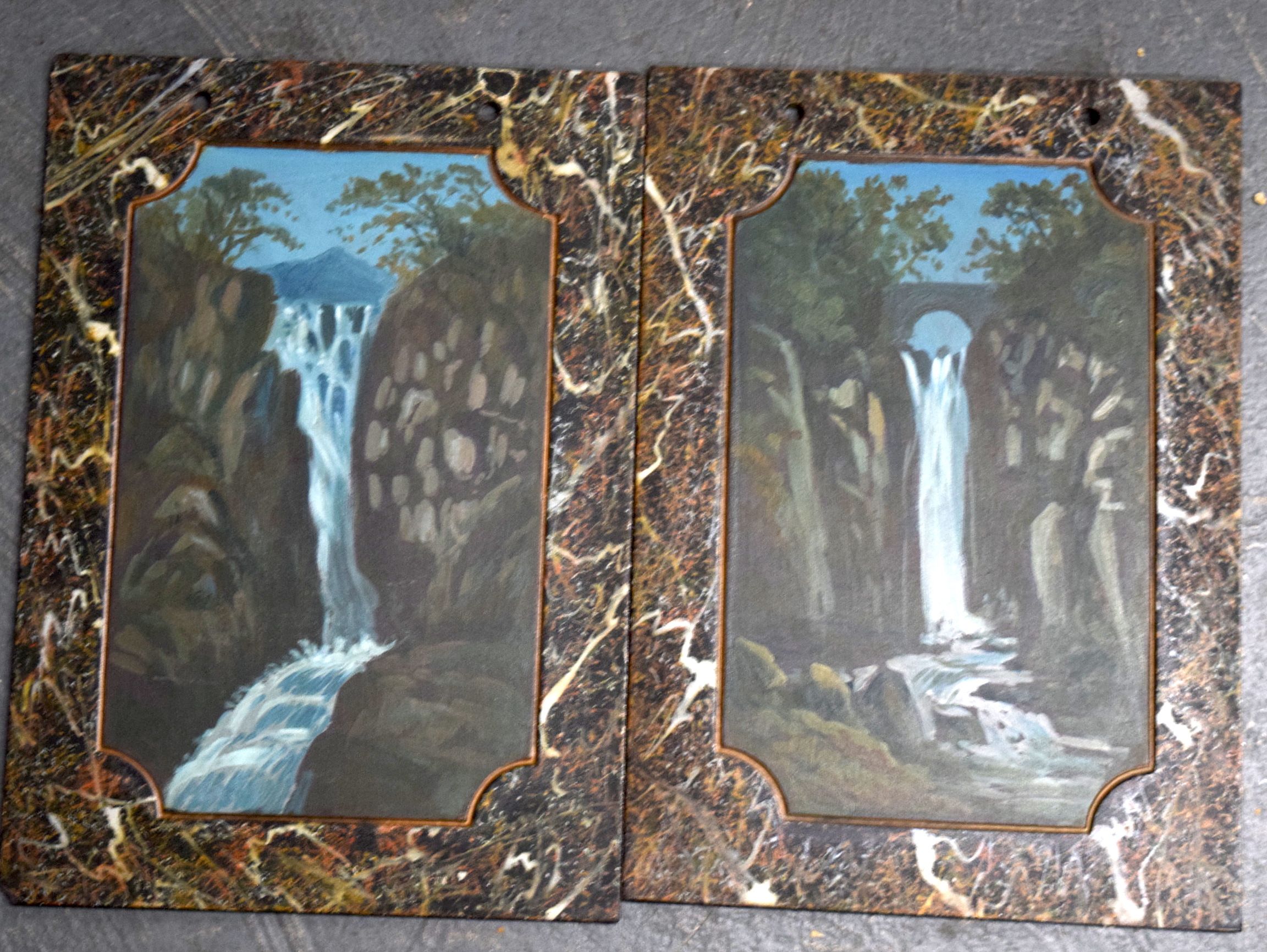 """Lot 2124 - A PAIR OF WELSH PAINTING ON SLATE, """"Rhydda Falls"""", together with another. 30.5 cm x 21.5 cm."""