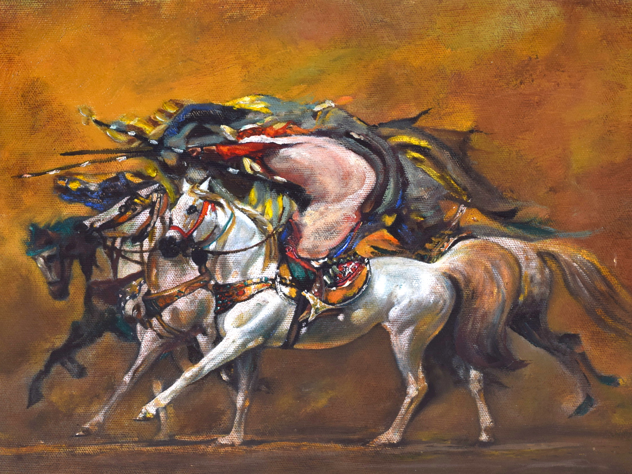 Lot 2217 - ARABIC SCHOOL (20th century) FRAMED OIL ON CANVAS, figures charging on horseback. 27 cm x 33.5 cm.