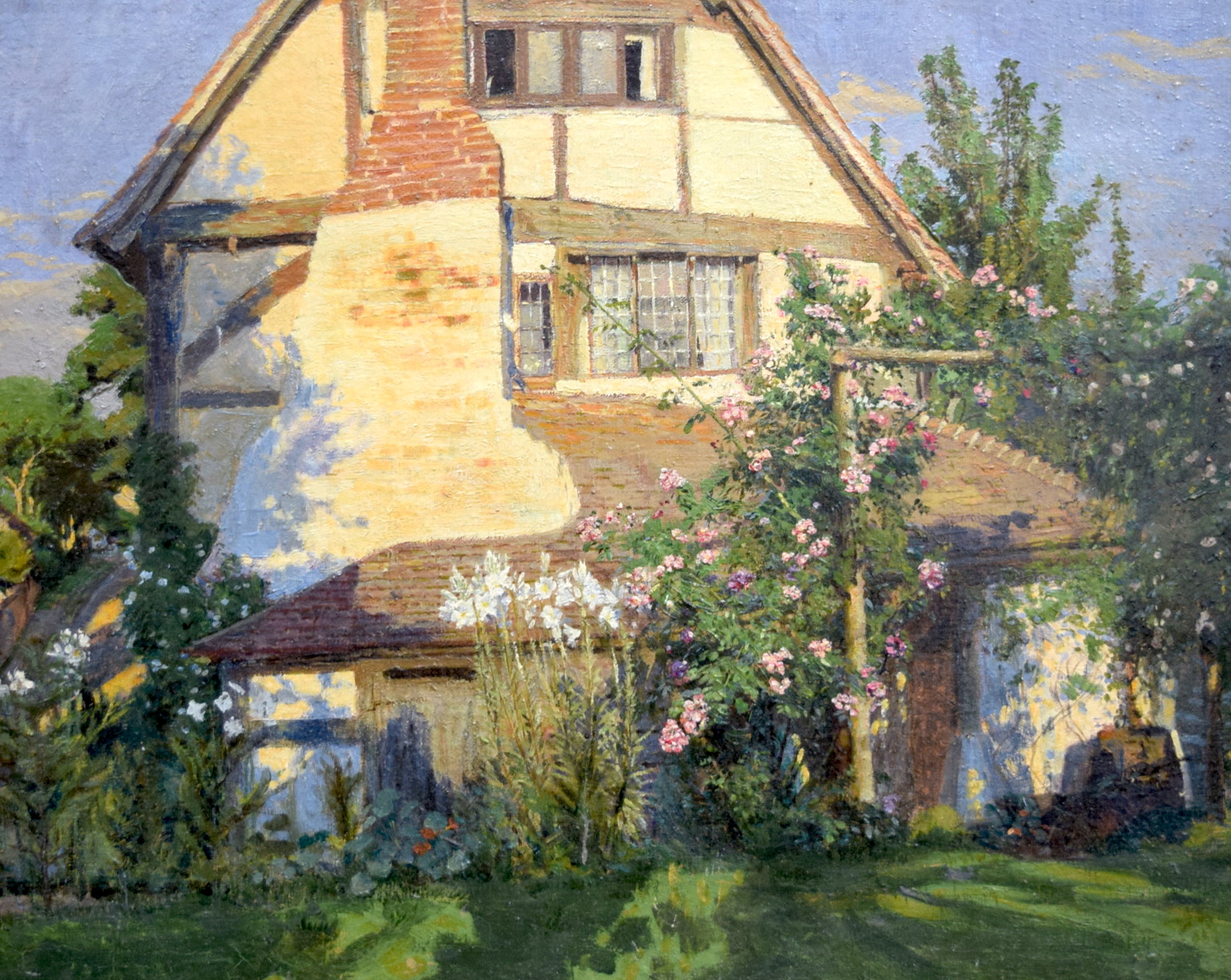 "Lot 2911 - CHARLES D WARD (1872-1935 British) FRAMED OIL ON CANVAS, signed, ""Cottage In The Country"", painting"