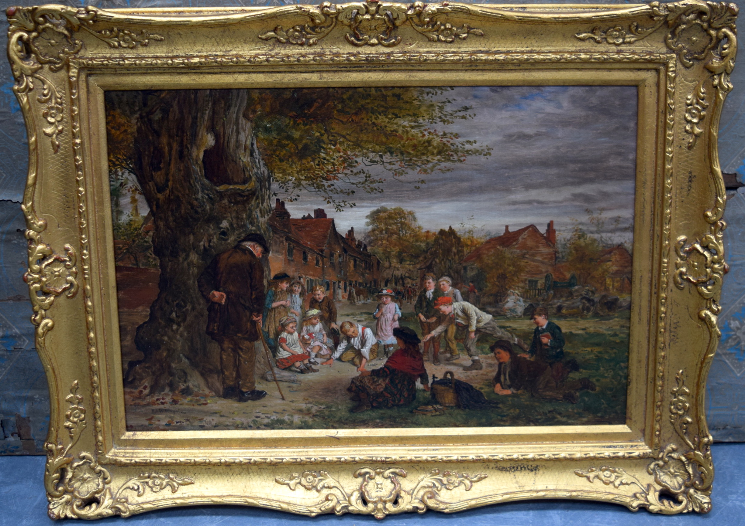 Lot 2243 - ROBERT WILLIAM WRIGHT (act 1870-1906) FRAMED OIL ON BOARD, signed & dated, children playing in the