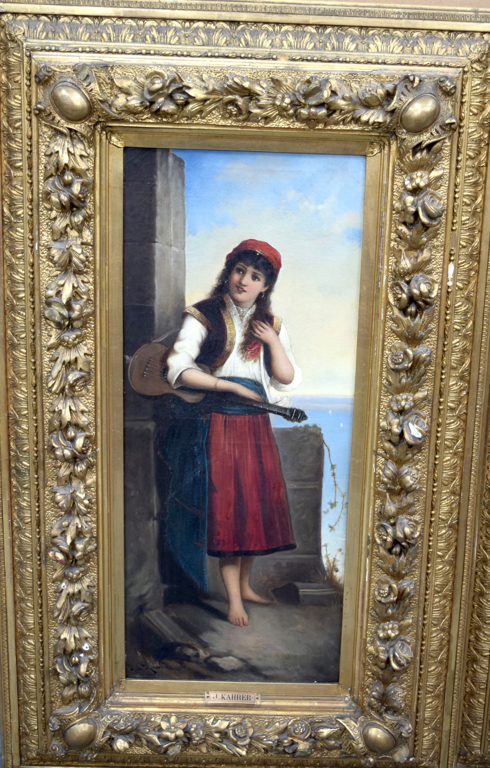 Lot 2664 - JULIUS KAHRER (19th century) GERMAN FRAMED PAIR OIL ON CANVAS, portrait of a standing maiden, toget