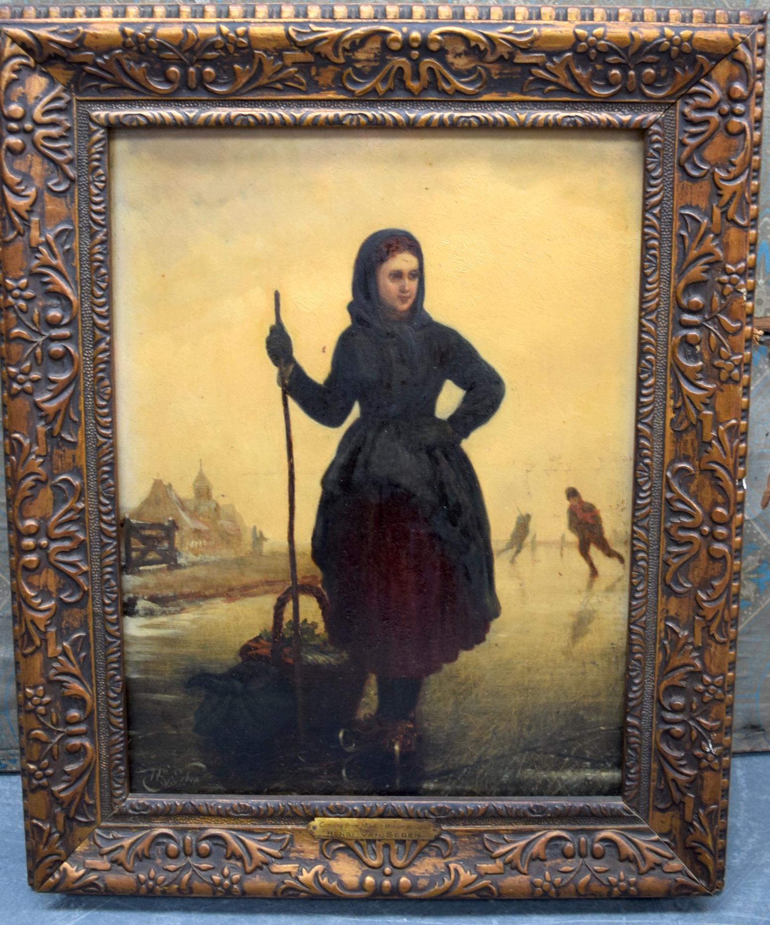 "Lot 2246 - HENRI VAN SEBEN (1825-1913) BELGIAN FRAMED OIL ON PANEL, signed, ""Coming From Market Winter Holland"