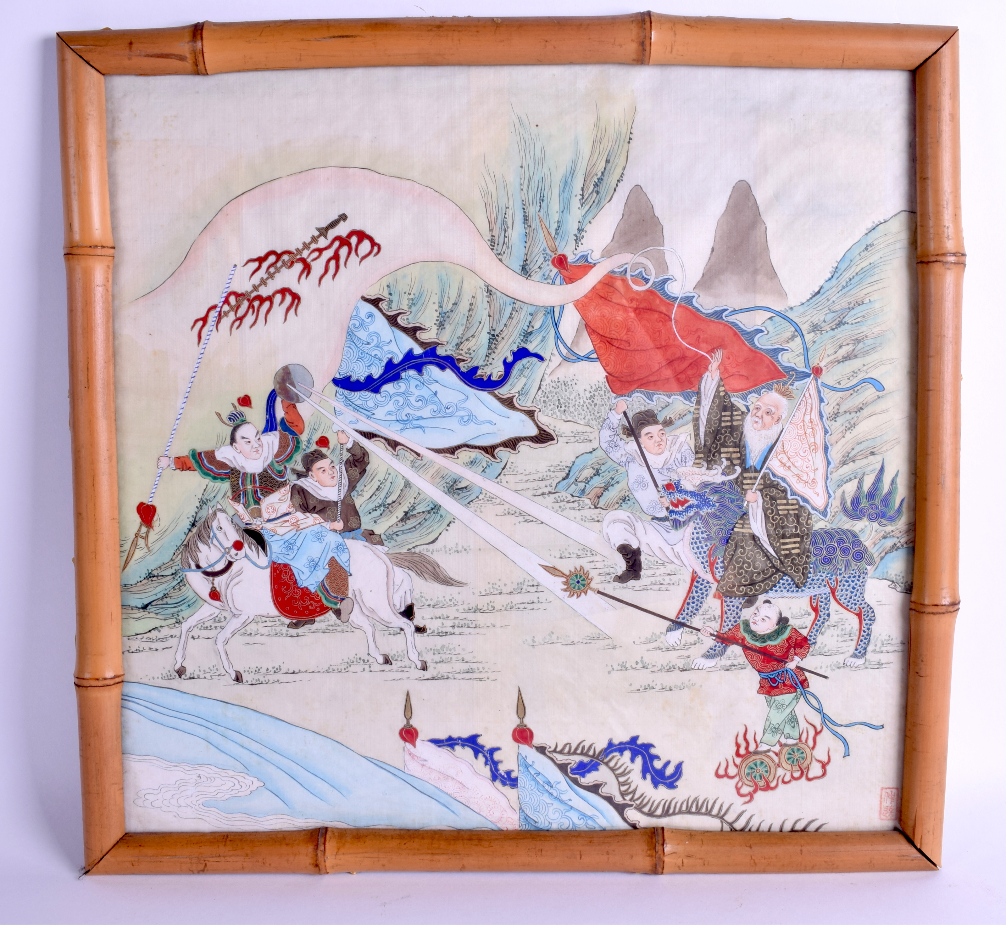 Lot 1460 - A PAIR OF LATE 19TH CENTURY CHINESE FRAMED SILKWORK PAINTINGS depicting scholars in various landsca