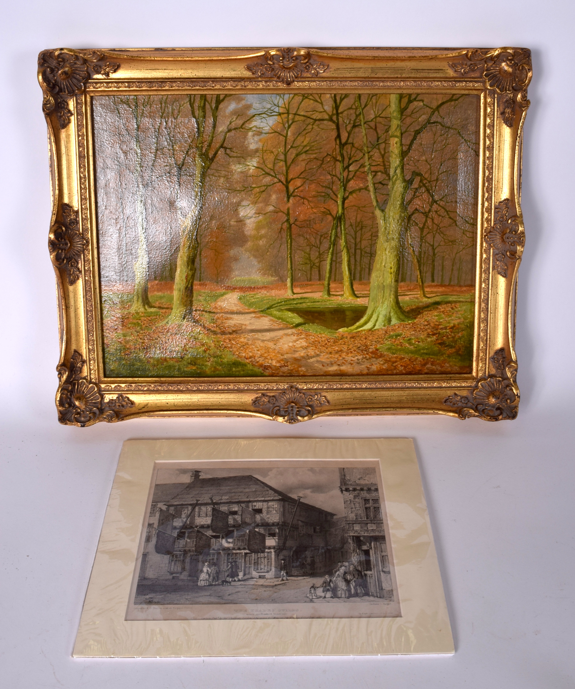 Lot 2322 - DAVID STRAIGHTWOOD (British) FRAMED OIL ON CANVAS, trees in an autumn landscape, together with a pr