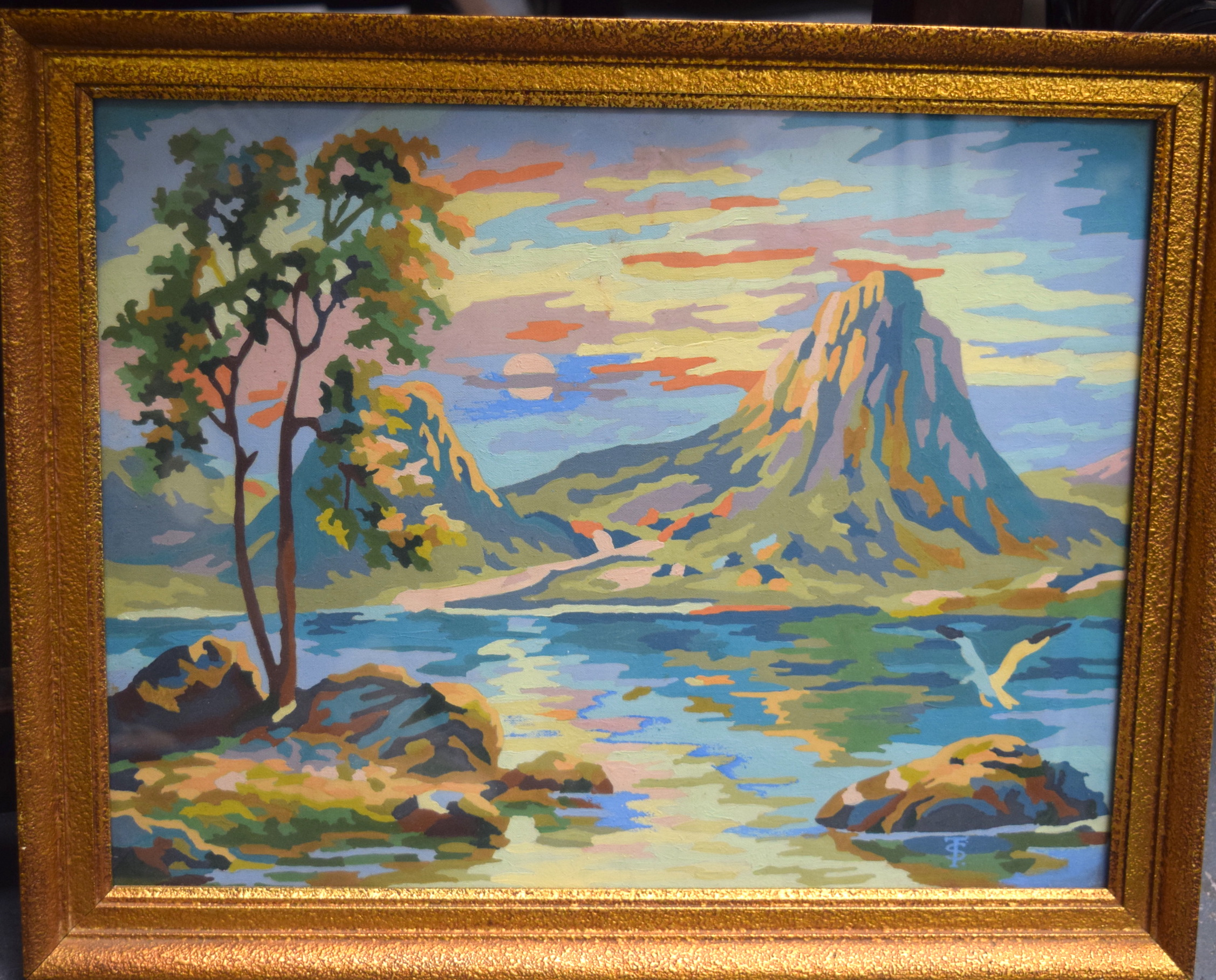 Lot 2790 - T.S (20th century) FRAMED OIL ON BOARD, monogramed, mountainous landscape. 30.5 cm x 39.5 cm.
