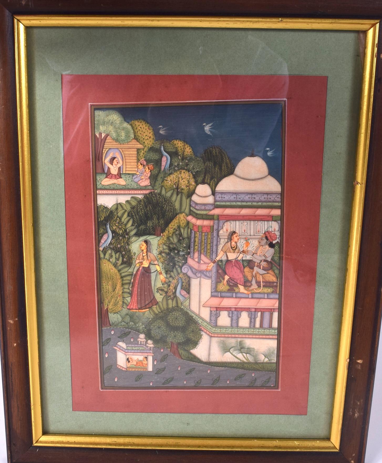 Lot 2580 - INDIAN SCHOOL (Early 20th century) FRAMED GOUACHE, figures in a landscape. 20.5 cm x 12 cm.