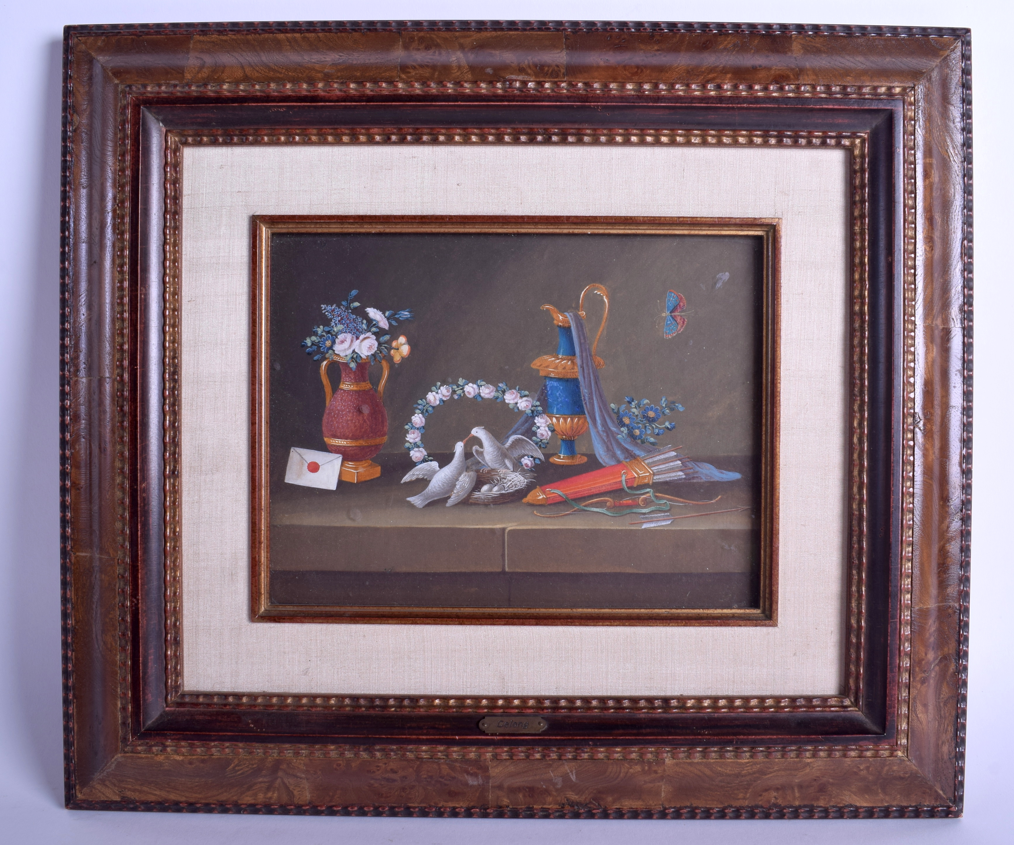 Lot 1659 - CHINESE SCHOOL (C1900) Framed Watercolour, Lelong, painted with love birds and French urns. Image 2