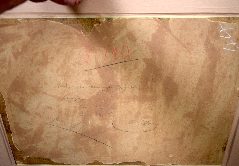 "Lot 2146 - HANNS THURN (1889-1963) FRAMED OIL ON BOARD, signed & dated 1918, titled verso ""Hafen Von Nieuport"""