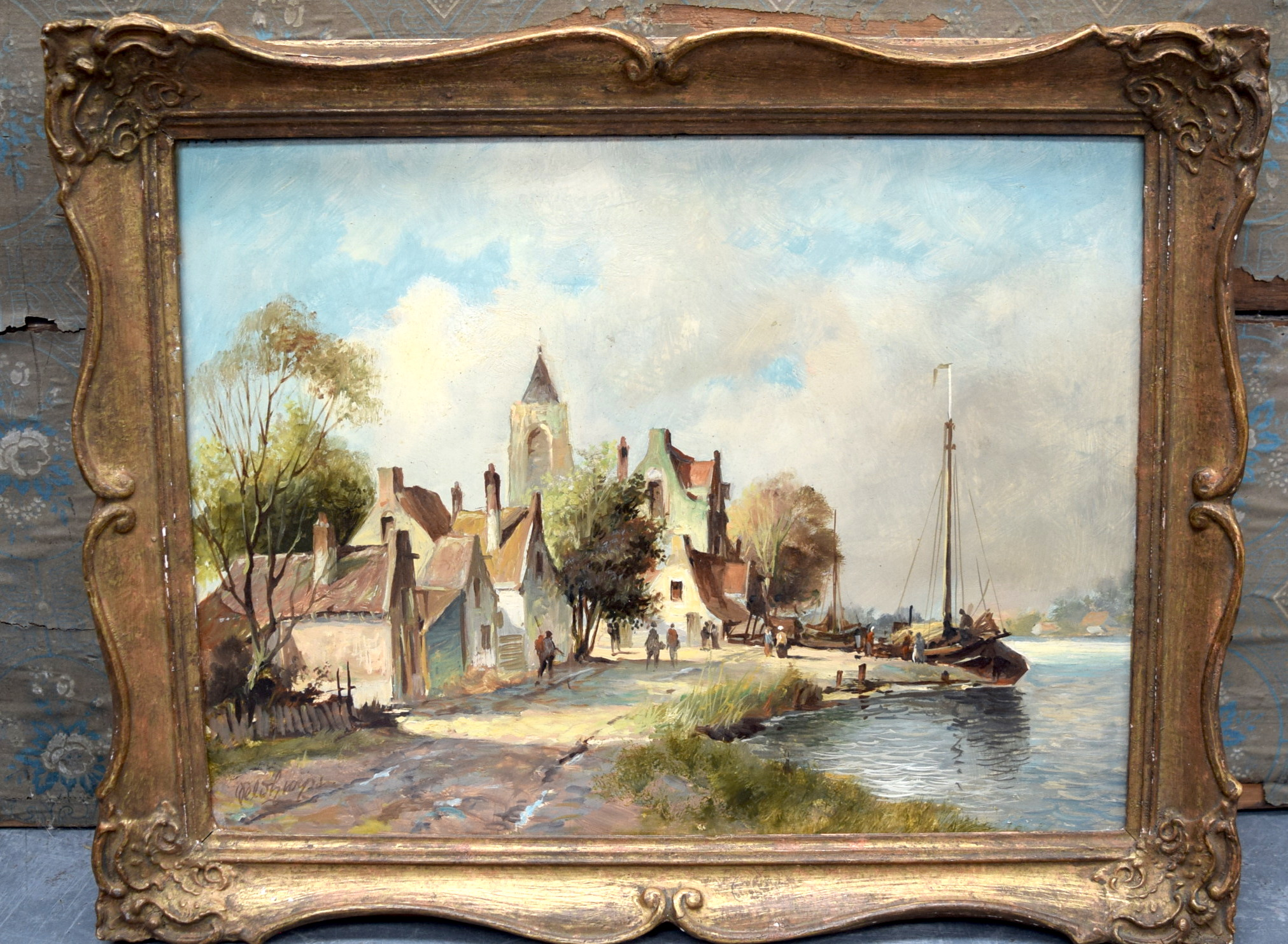 Lot 2244 - CONTINENTAL SCHOOL (19th/20th century) FRAMED OIL ON PANEL, indistinctly signed, figures in a river