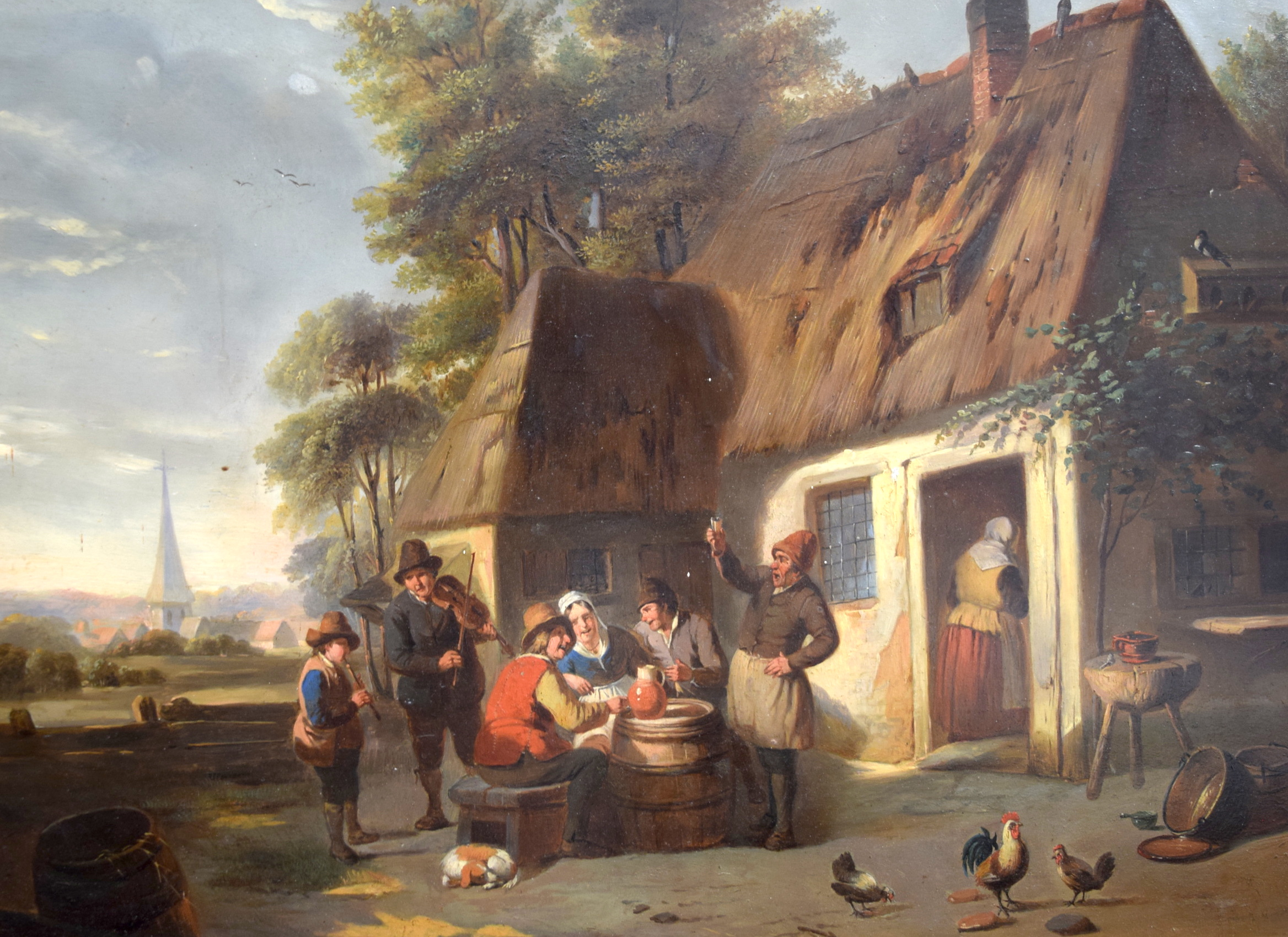 Lot 2869 - DUTCH SCHOOL (19th century) FRAMED OIL ON PANEL, figures enjoying life in the street, unsigned. 40.