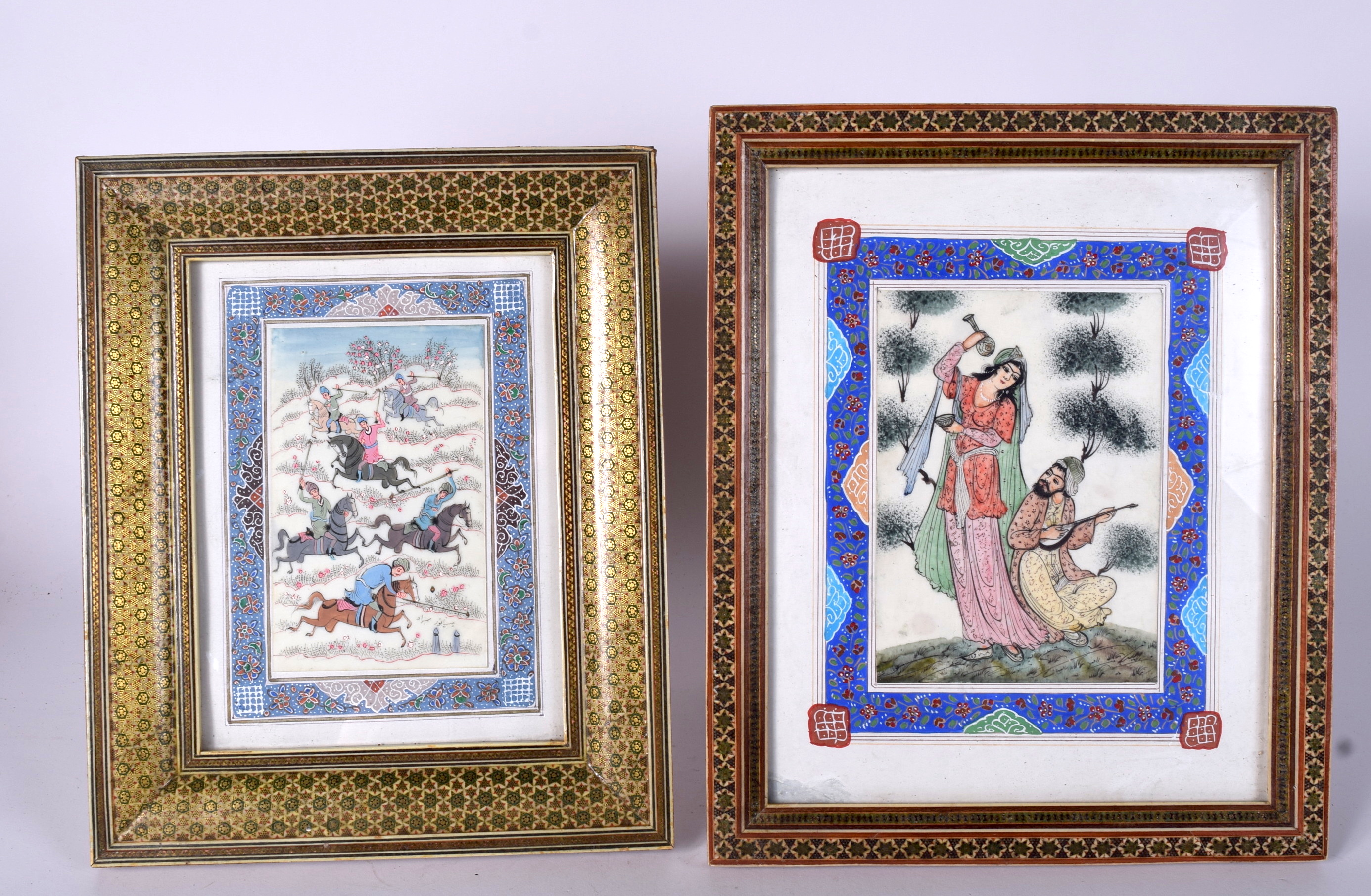 Lot 2337 - A NEAR PAIR OF EARLY 20TH CENTURY PERSIAN PAINTING ON IVORY, two lovers in a landscape, together w