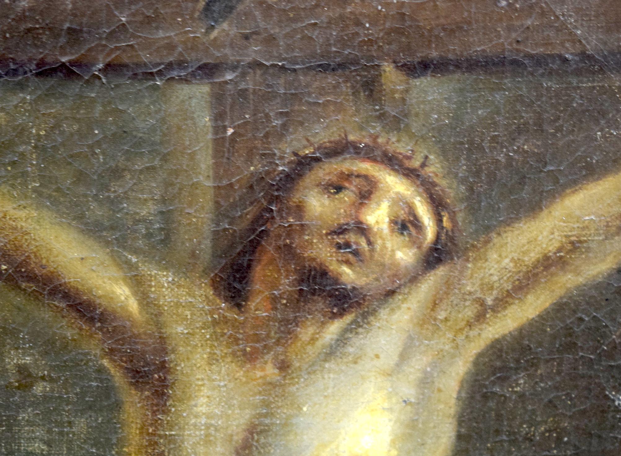 Lot 2047 - ITALIAN SCHOOL (18th century) FRAMED OIL ON CANVAS, Jesus christ on a crucifix, 62 cm x 47 cm.