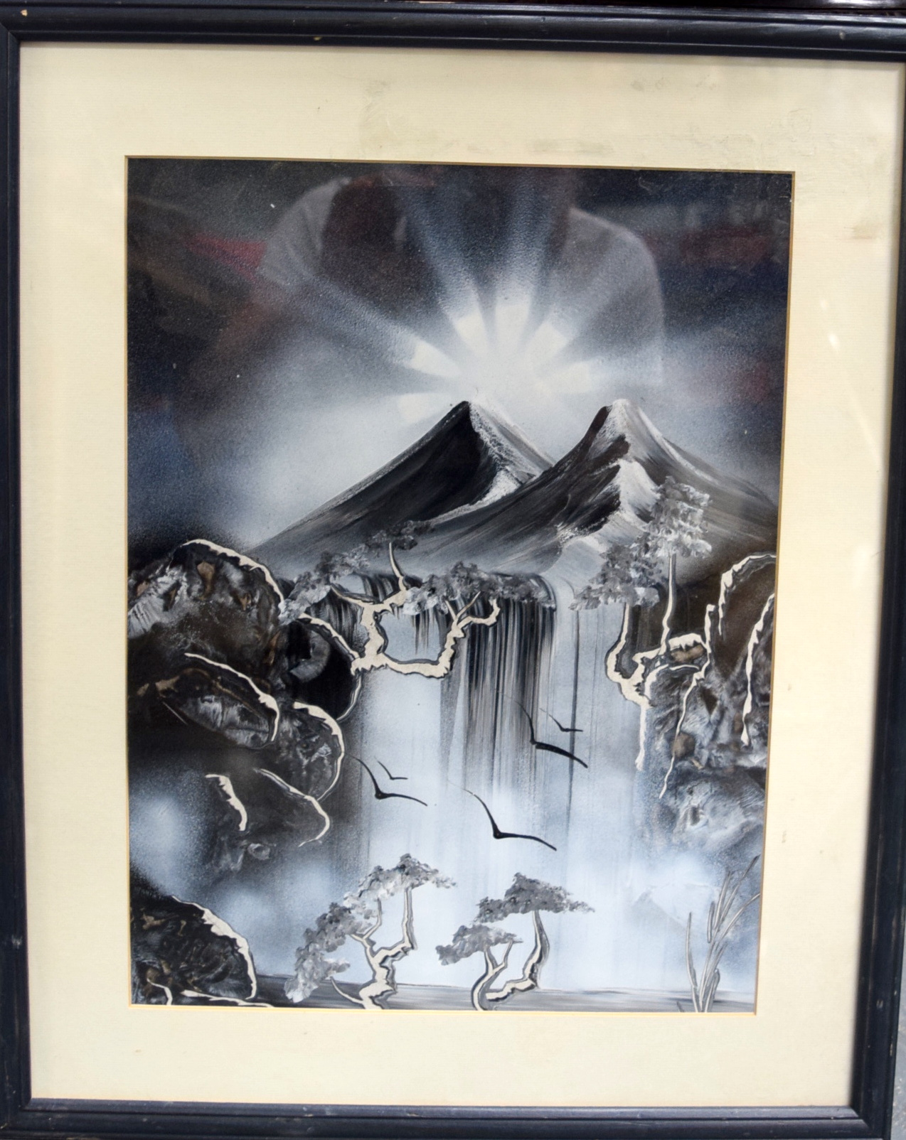 Lot 2706 - JAPANESE SCHOOL (early 20th century) FRAMED ACRYLIC OIL ON CARD, Mount Fuji, unsigned. 39.5 cm x 29