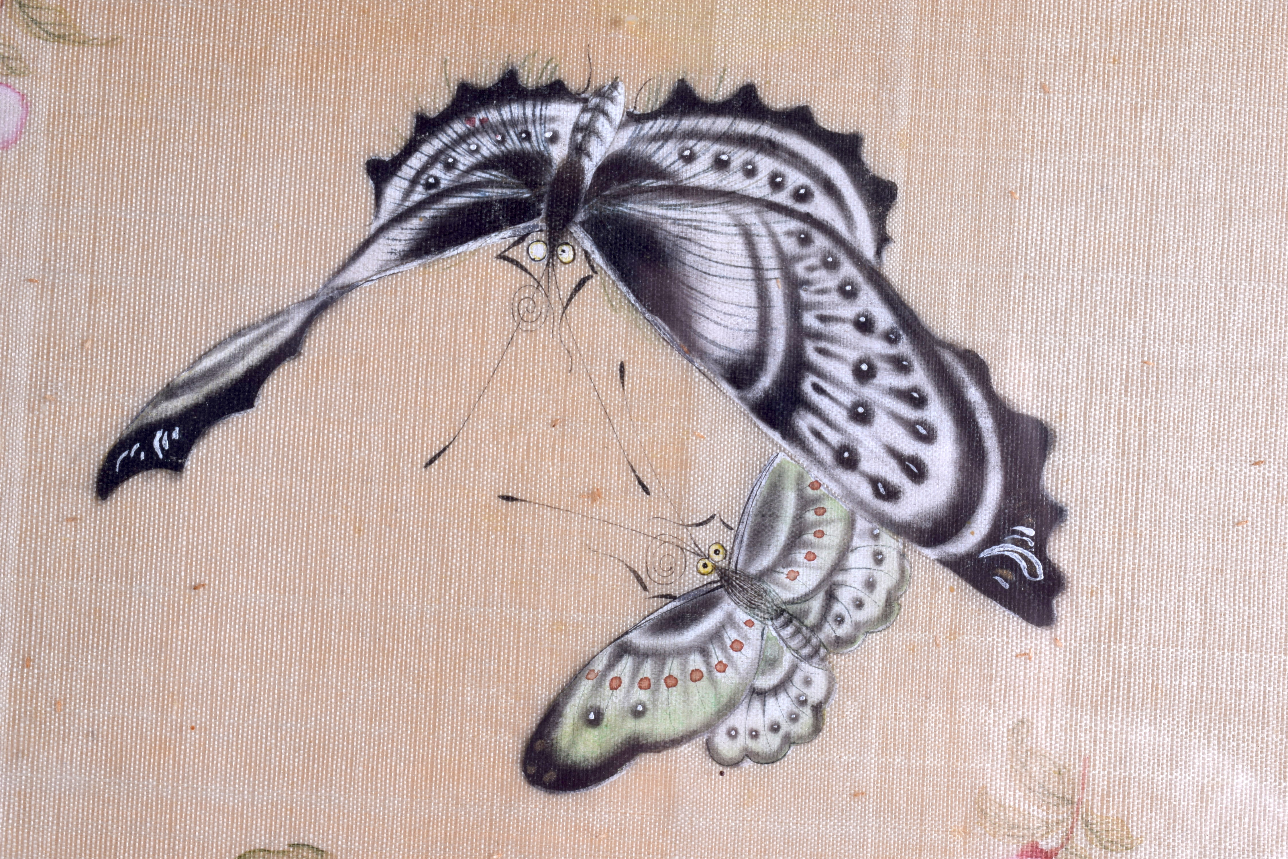 Lot 1518 - A PAIR OF 19TH CENTURY CHINESE FRAMED WATERCOLOURS depicting a group of butterflies. 63 cm x 36 cm.