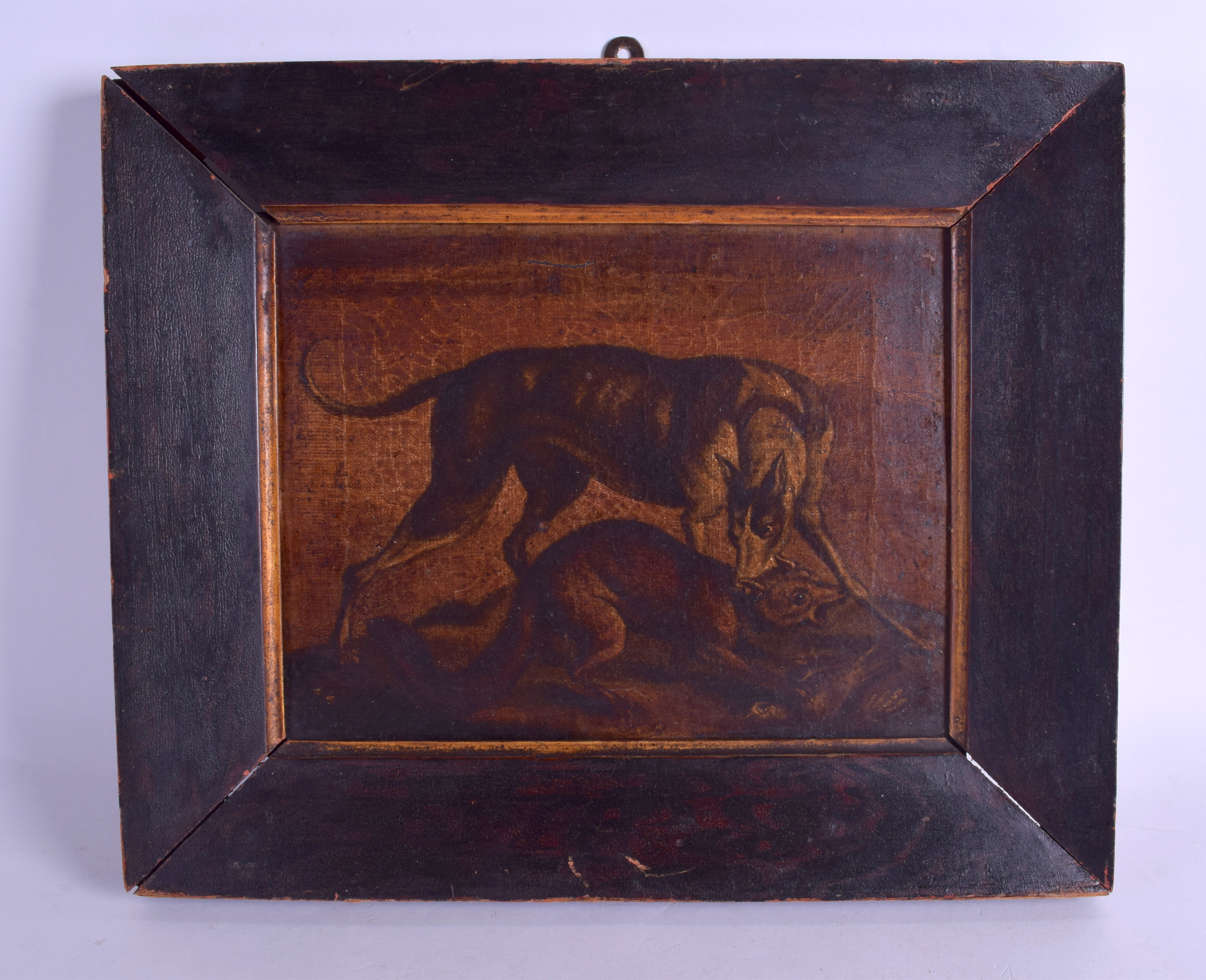 Lot 403 - A PAIR OF 18TH/19TH CENTURY CONTINENTAL OIL ON CANVAS depicting grappling animals. Image 26 cm x 22