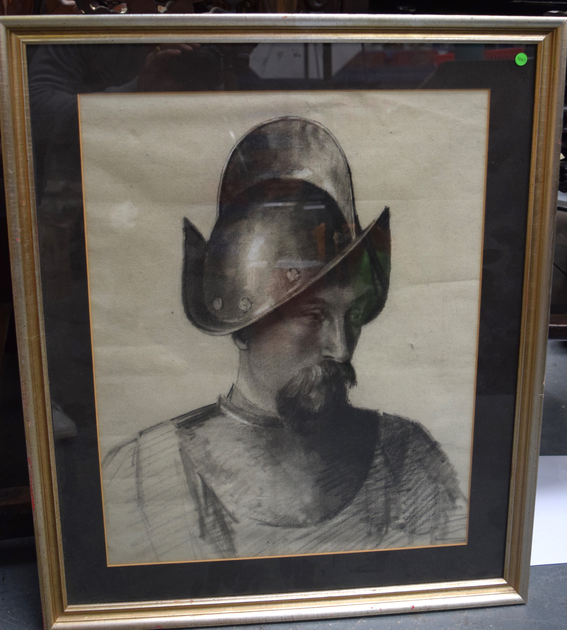 Lot 2794 - SCOTTISH SCHOOL (19th century) FRAMED CHARCOAL PORTRAIT, depicting a male in armour, unsigned, insc