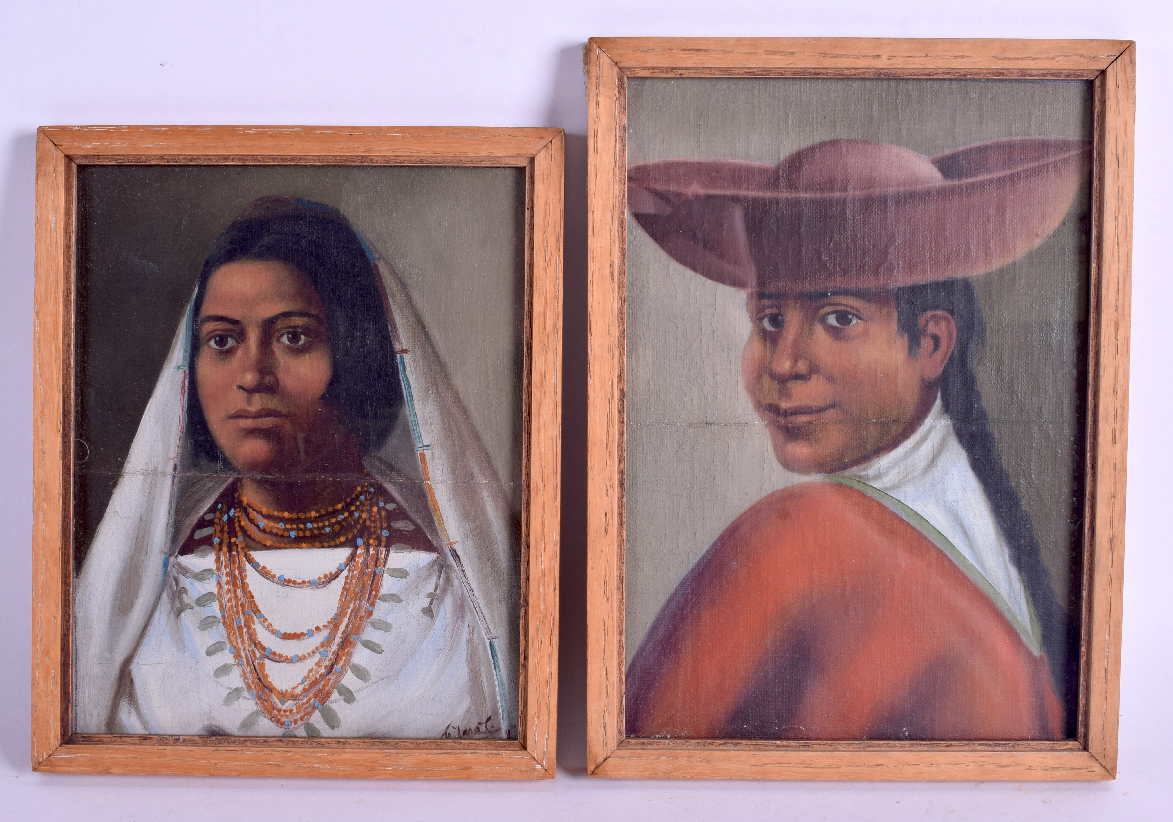 Lot 449 - A PAIR OF 19TH CENTURY CONTINENTAL OIL ON CANVAS depicting South American females. Image 14 cm x 18