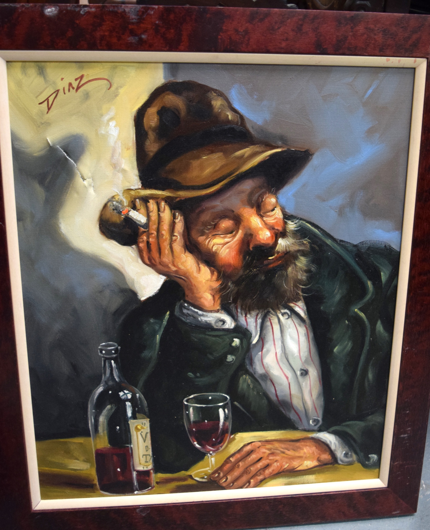 Lot 2788 - DINZ 20th century) FRAMED OIL ON CANVAS, signed, portrait of a bearded male. 51.5 cm x 42 cm.