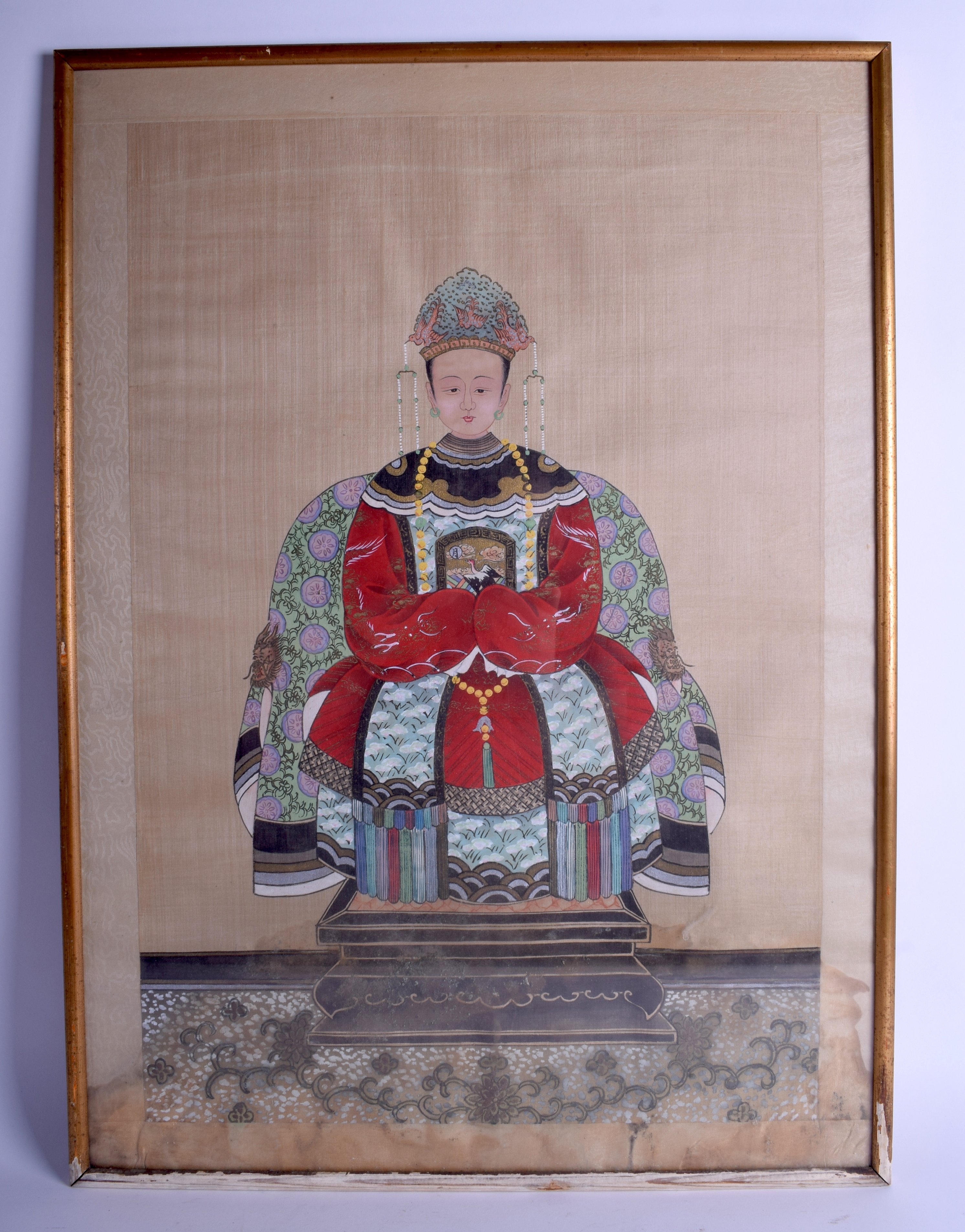 Lot 1642 - A CHINESE FRAMED ANCESTRAL WATERCOLOUR. Image 68 cm x 40 cm.