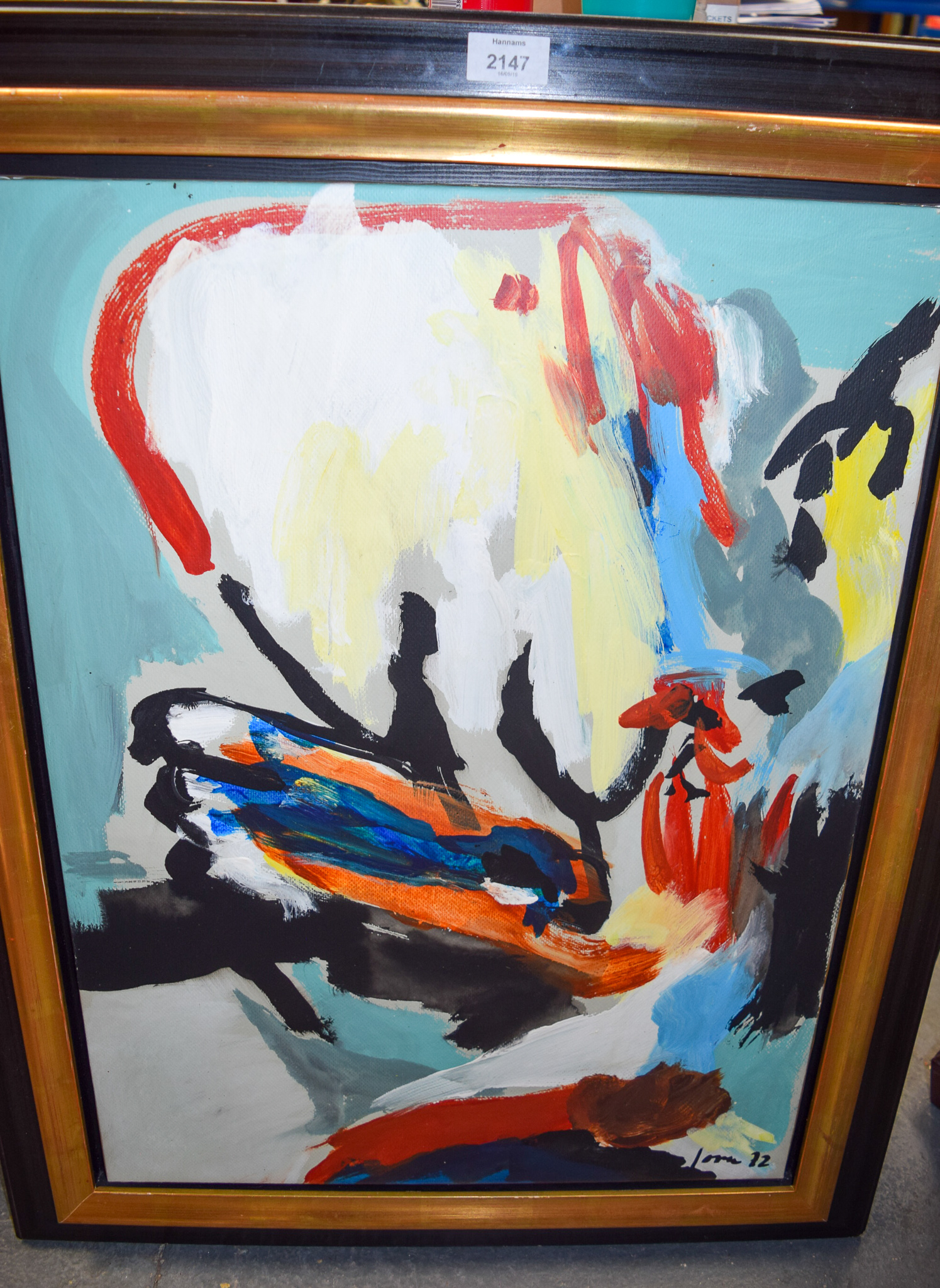 Lot 2147 - EUROPEAN SCHOOL (20th century) FRAMED OIL ON CANVAS, abstract chicken, indistinctly signed. 66 cm x