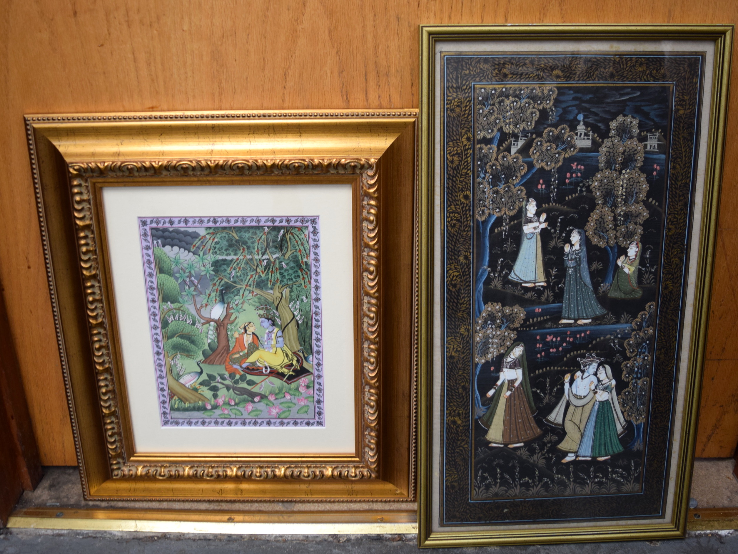 Lot 2506 - INDIAN SCHOOL (20th century) FRAMED GOUACHE ON SILK, figures in a landscape, together with another