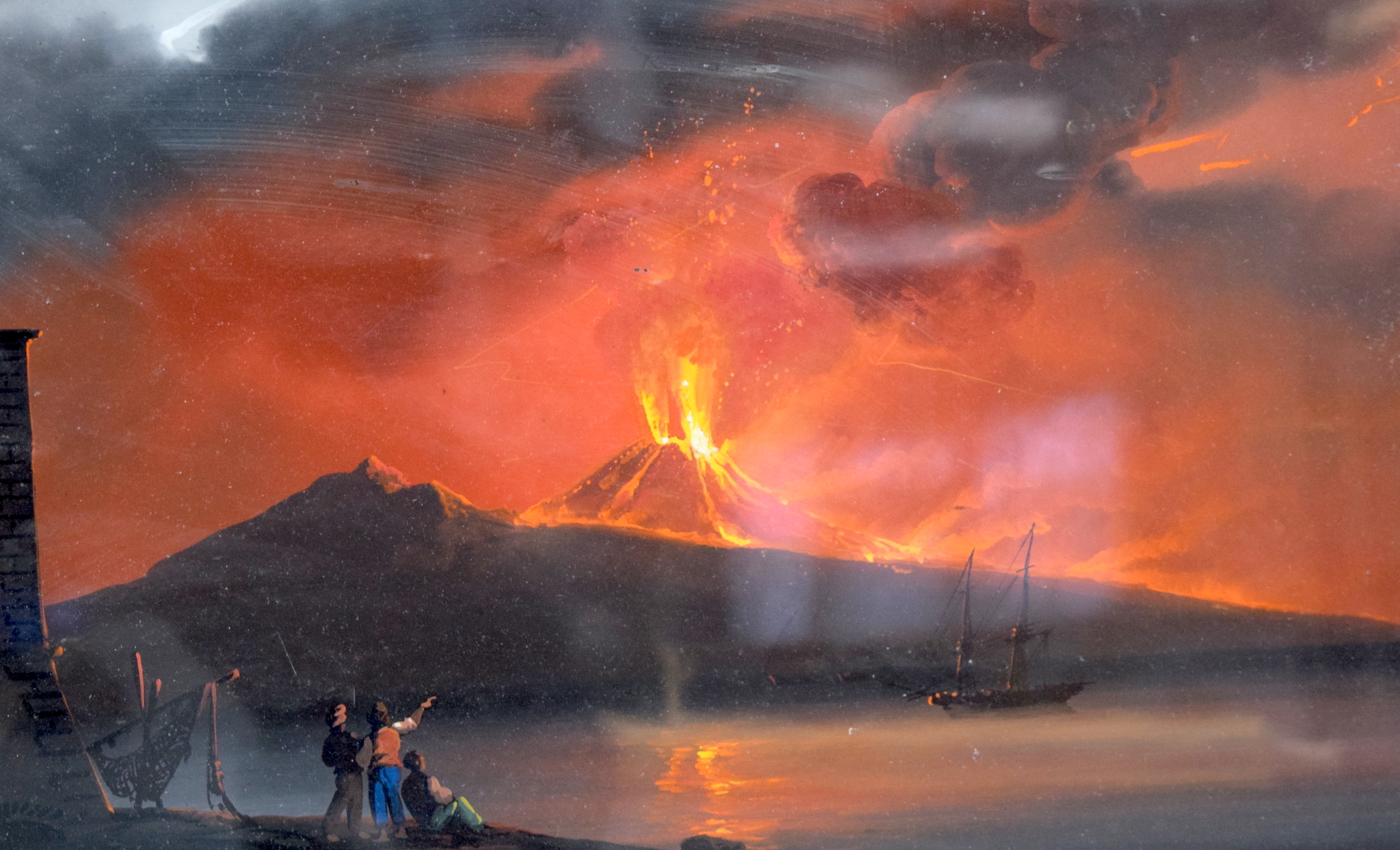Lot 2645 - NEOPOLITAN SCHOOL (early 20th century) FRAMED PAIR OIL ON CARD, a view of the eruption of Mount Ves
