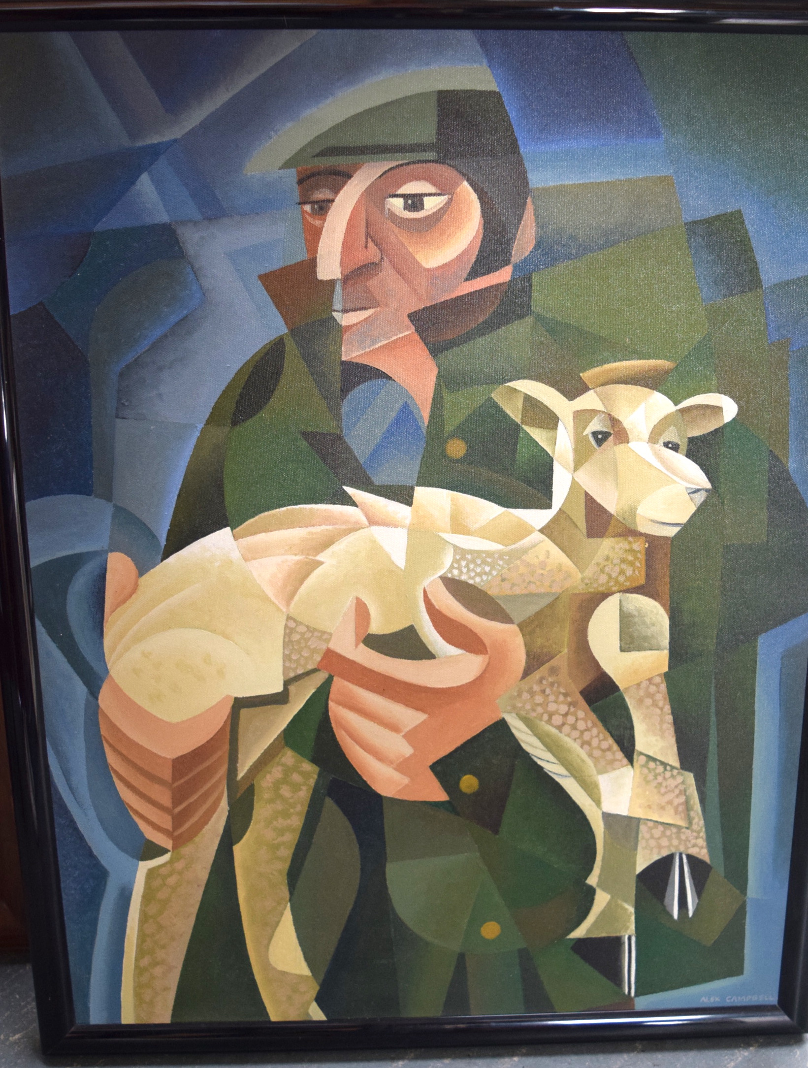 Lot 2692 - ALEX CAMPBELL (20th century) FRAMED ACRYLIC ON CANVAS, signed, cubist male holding a lamb, inscript