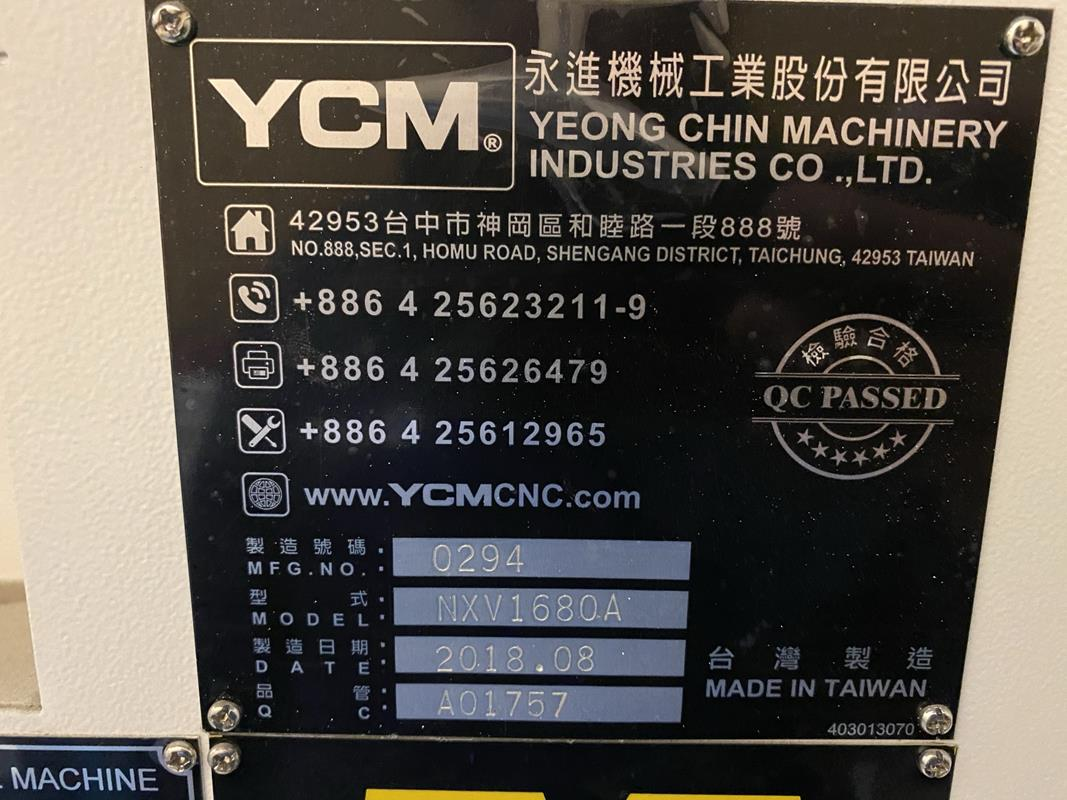 """YCM, NXV1680A, 3 AXIS, CNC VERTICAL MACHINING CENTRE, TRAVELS (X,Y,Z) 64"""", 30"""", 28"""", TABLE SIZE - Image 15 of 17"""