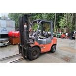 "TOYOTA FORKLIFT, MODEL 7FGU30, 6,000 LB CAP., 187"" TRIPLE STAGE LIFT, AIR TIRES, PROPANE"