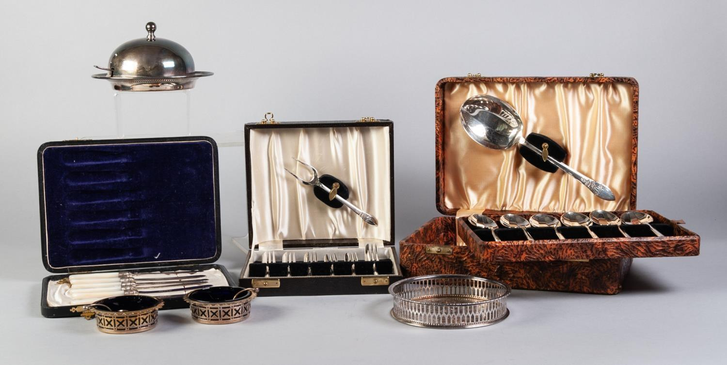 Lot 397 - THREE BOXED SETS OF CUTLERY FOR SIX PERSONS includes six butter knives with mop handles and silver