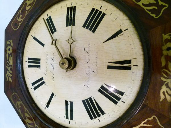 Lot 6 - 19th Century brass-inlaid rosewood-cased 'Black Forest' type 'Postman's Alarm' style wall clock, the