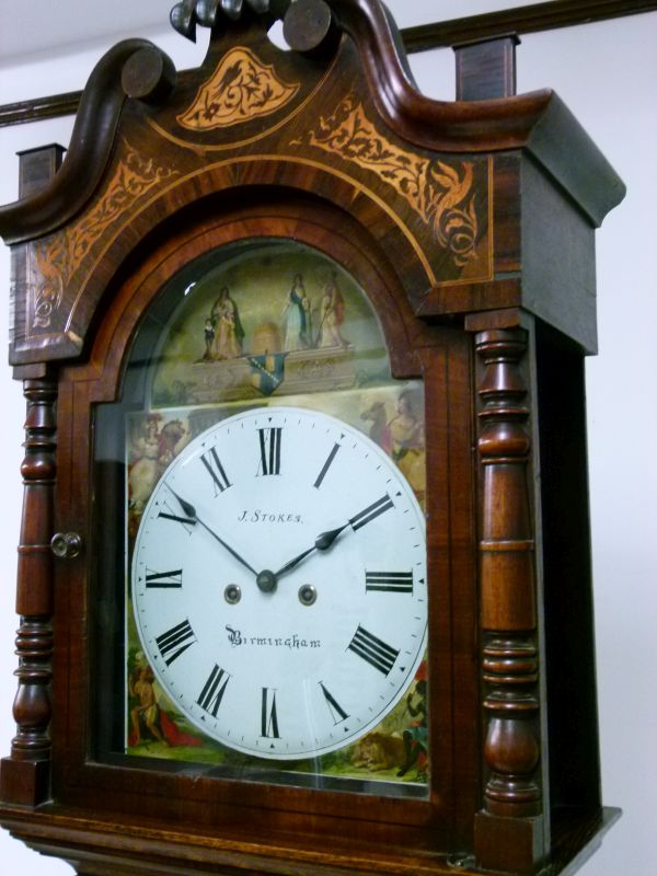 Lot 2 - Second quarter 19th Century inlaid oak and rosewood-cased eight day painted dial longcase clock, J.