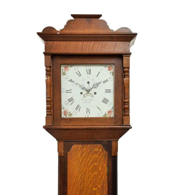Lot 3 - Early 19th Century Welsh oak eight-day painted dial longcase clock, Rowland Griffith, Llanrwst,
