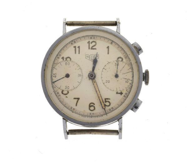 Lot 22 - Mid 1940's Gentleman's manual wind chronograph watch head, having a chrome plated three body case,