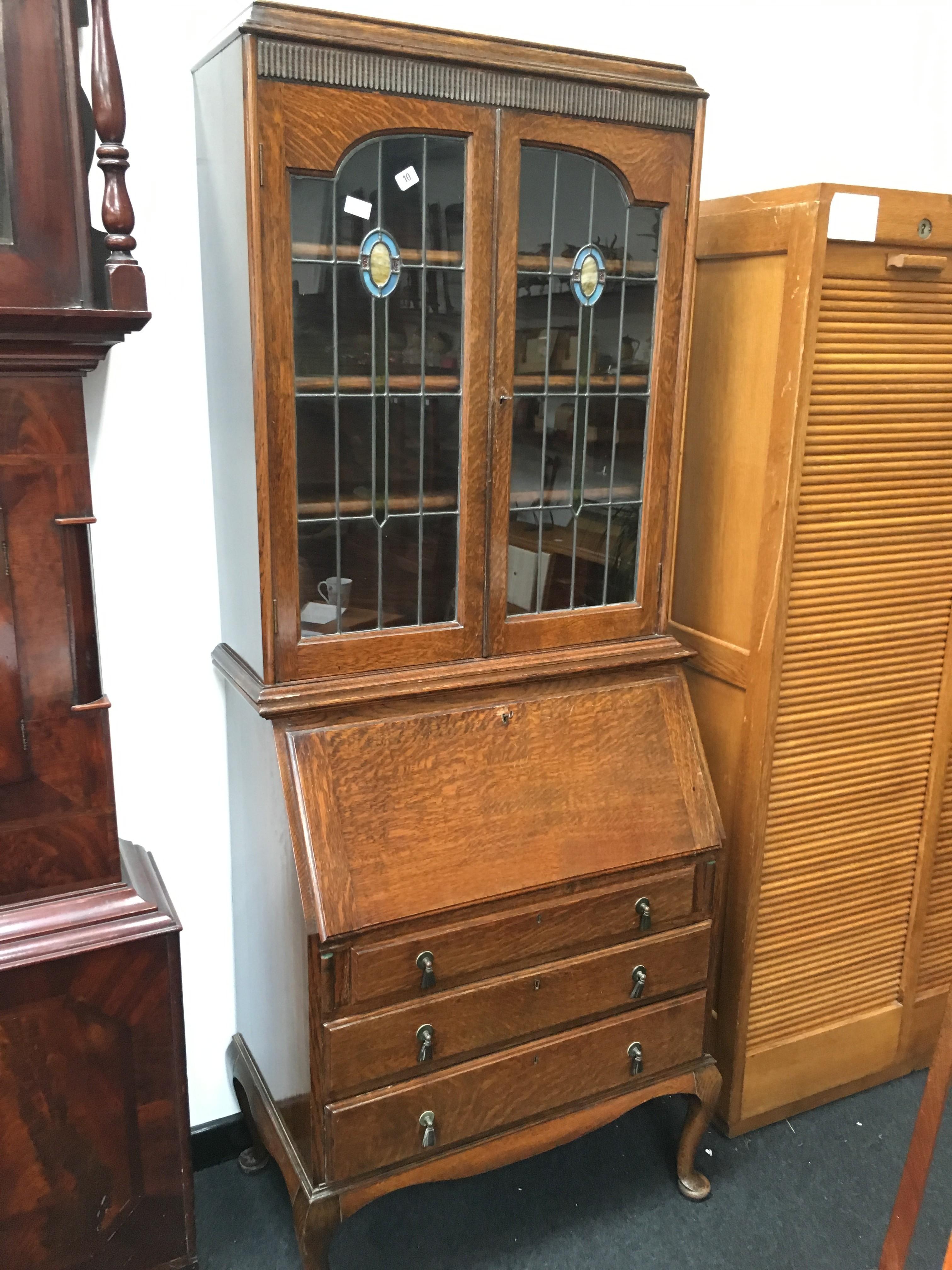 An Edwardian Oak Leaded Glass Front Bureau Bookcase Fitted