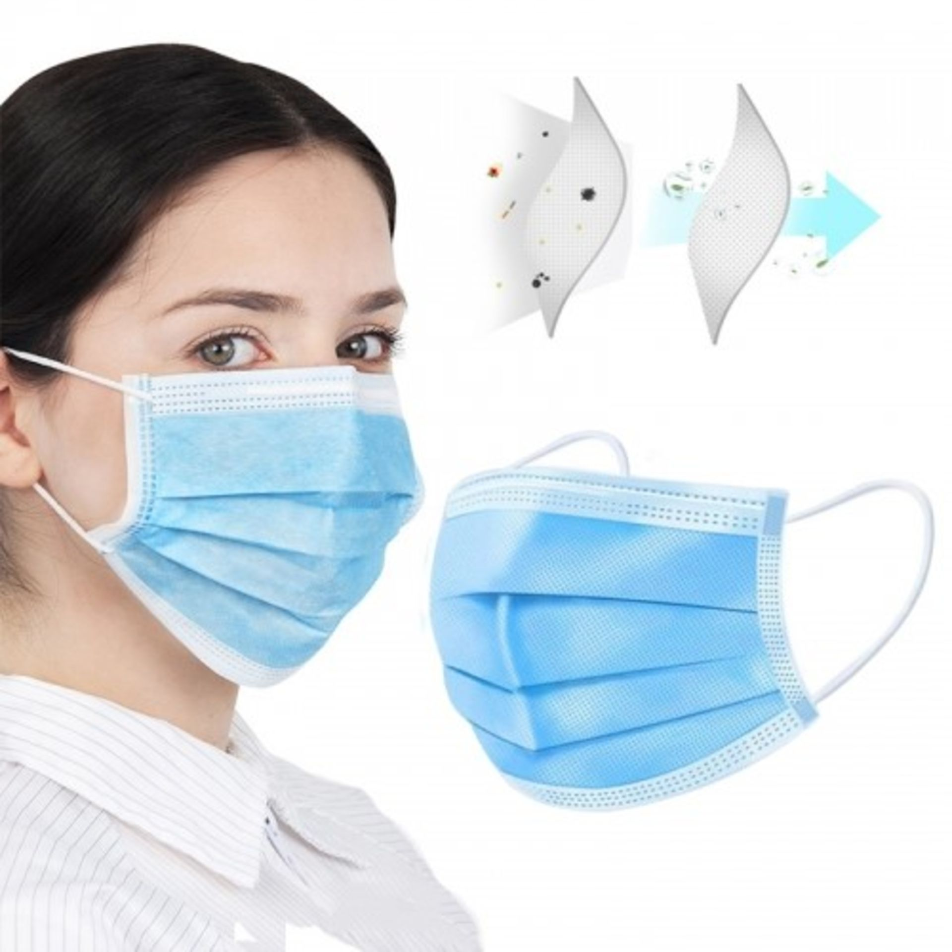 100 IN TOTAL 3 X PLY DISPOSABLE FACE MASKS *NO VAT* - Image 3 of 3