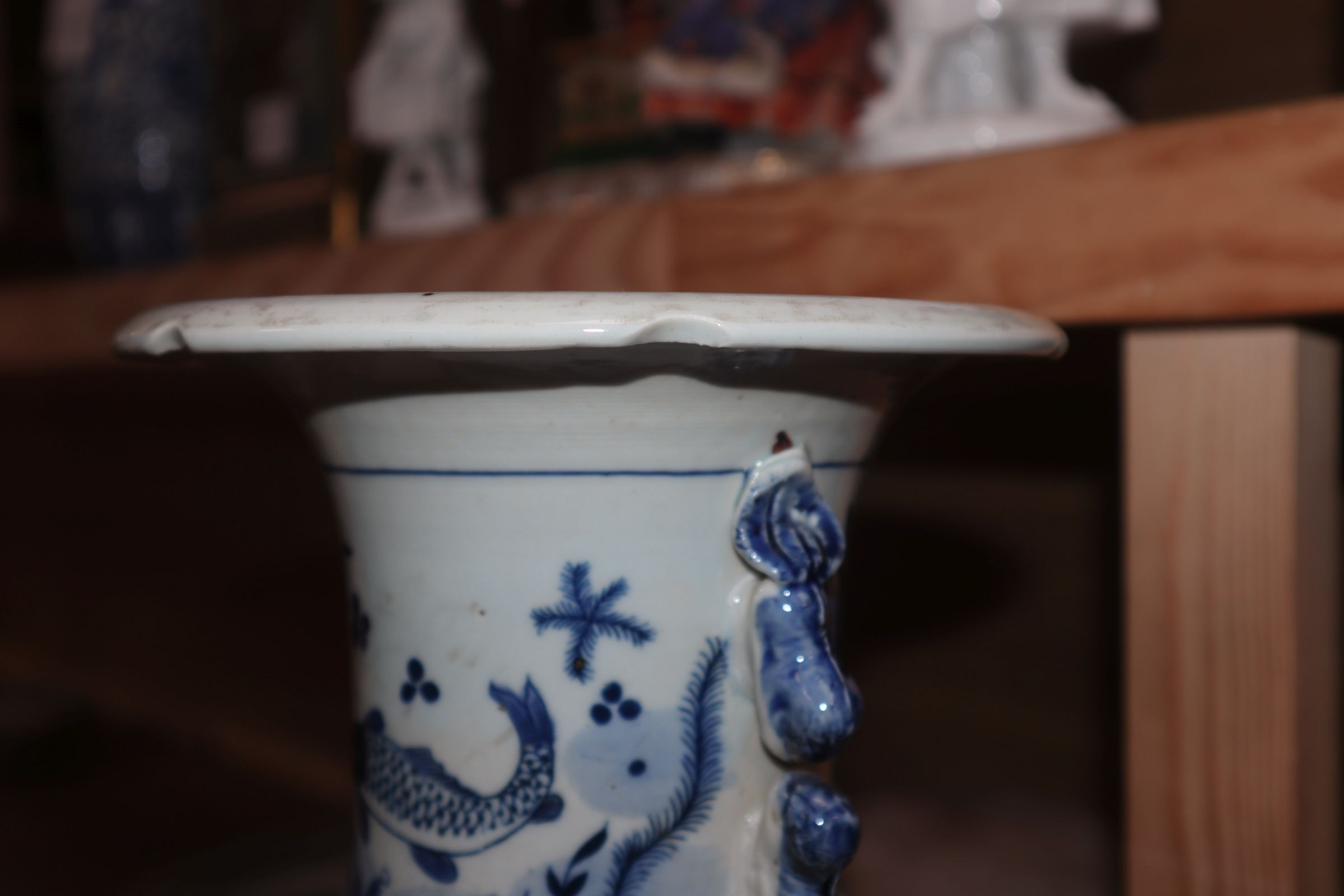 A Chinese blue and white fish vase height 43cm - Image 3 of 10