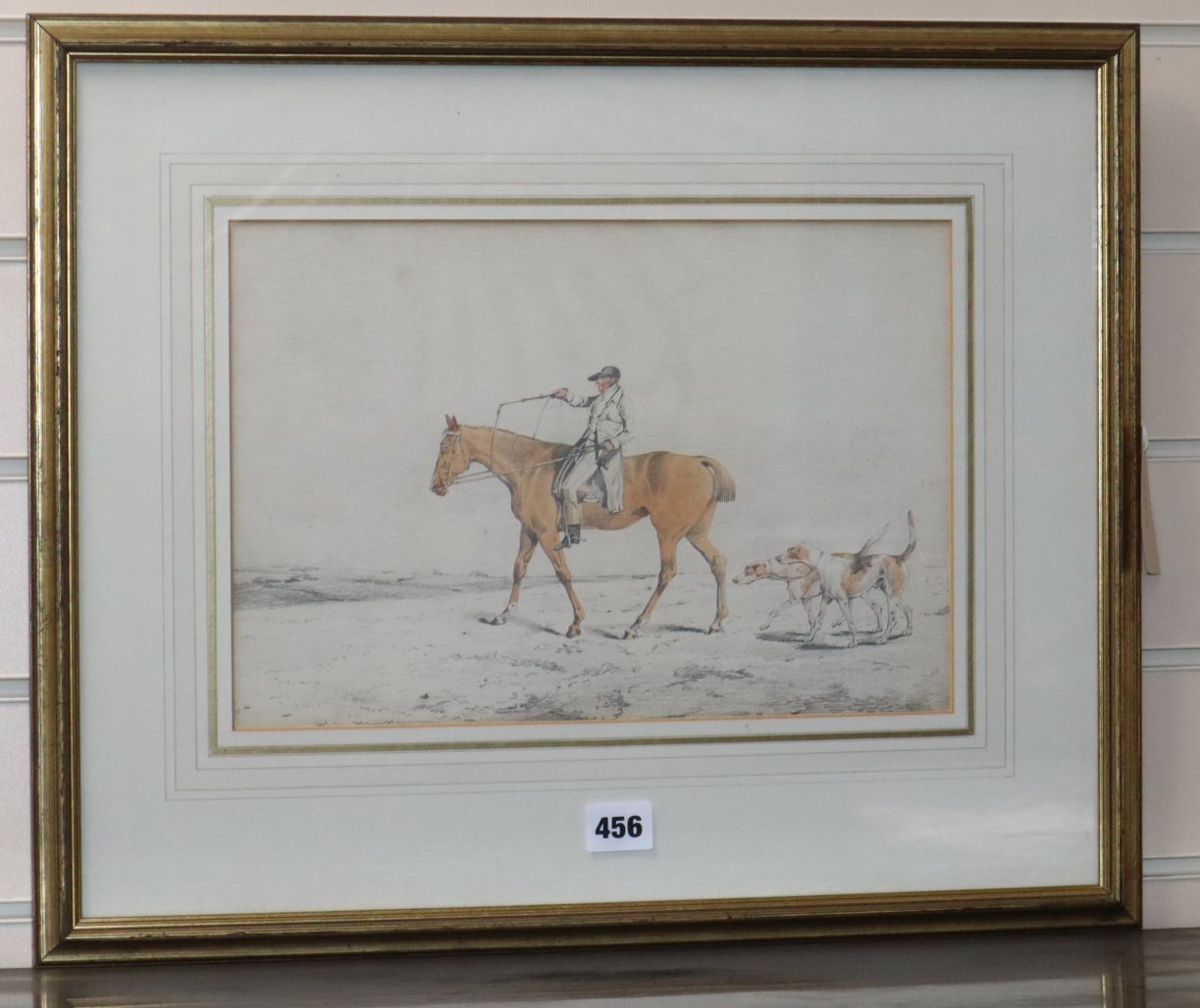 Lot 487 - Attributed to Henry Alken, pencil and watercolour, Huntsman and hounds, 23 x 34cm