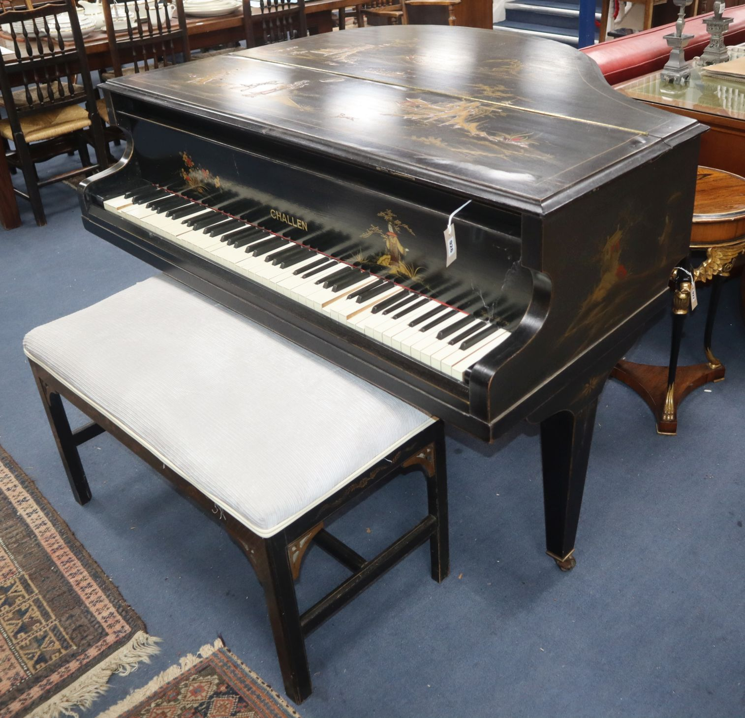 Lot 926 - An early 20th century Challen chinoiserie lacquer baby grand piano and duet stool