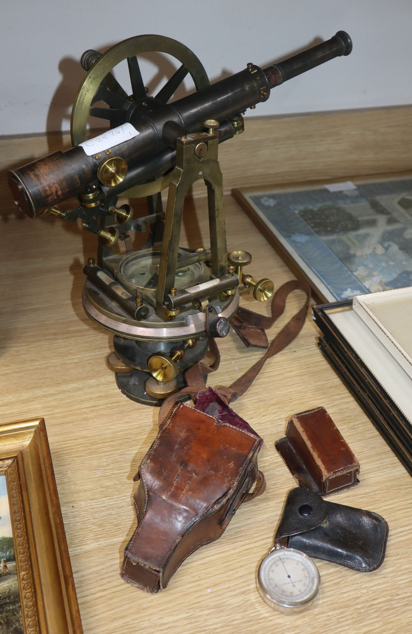 Lot 31 - A 19th century brass theodolite and a Casella compass surveying instrument