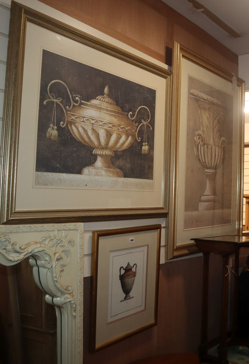 Three coloured prints of Classical vases, framed and glazed