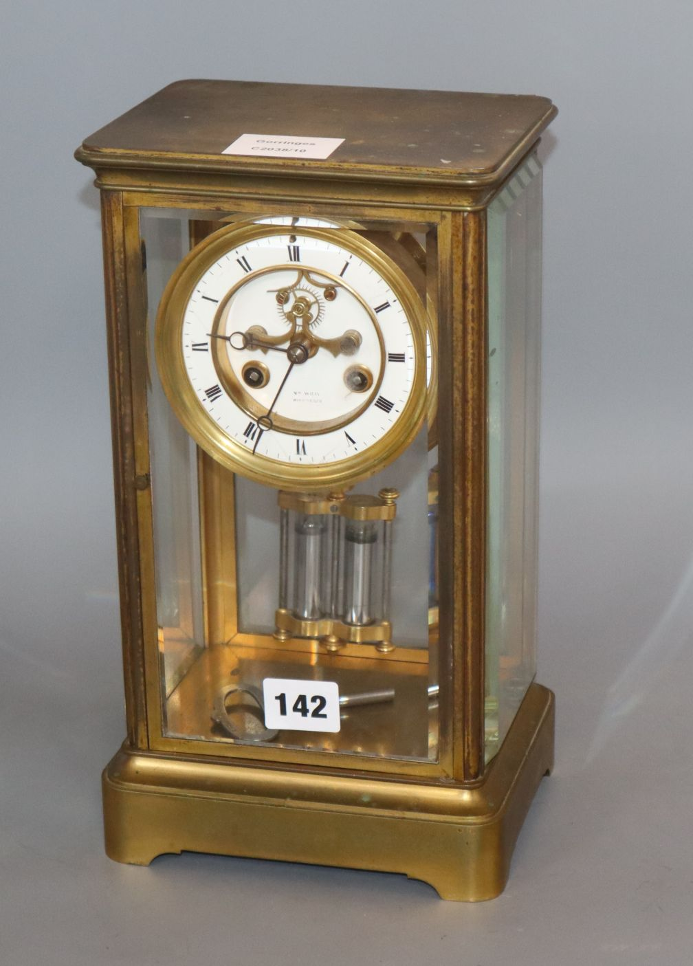 Lot 142 - A late 19th century French brass cased eight day four glass mantel clock height 30cm