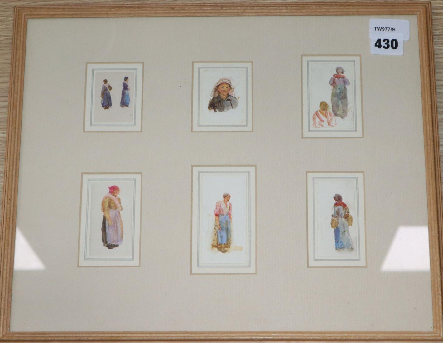 Lot 430 - Helen Allingham R. W. S. (1848-1926), Six small figure studies, framed together, watercolour,