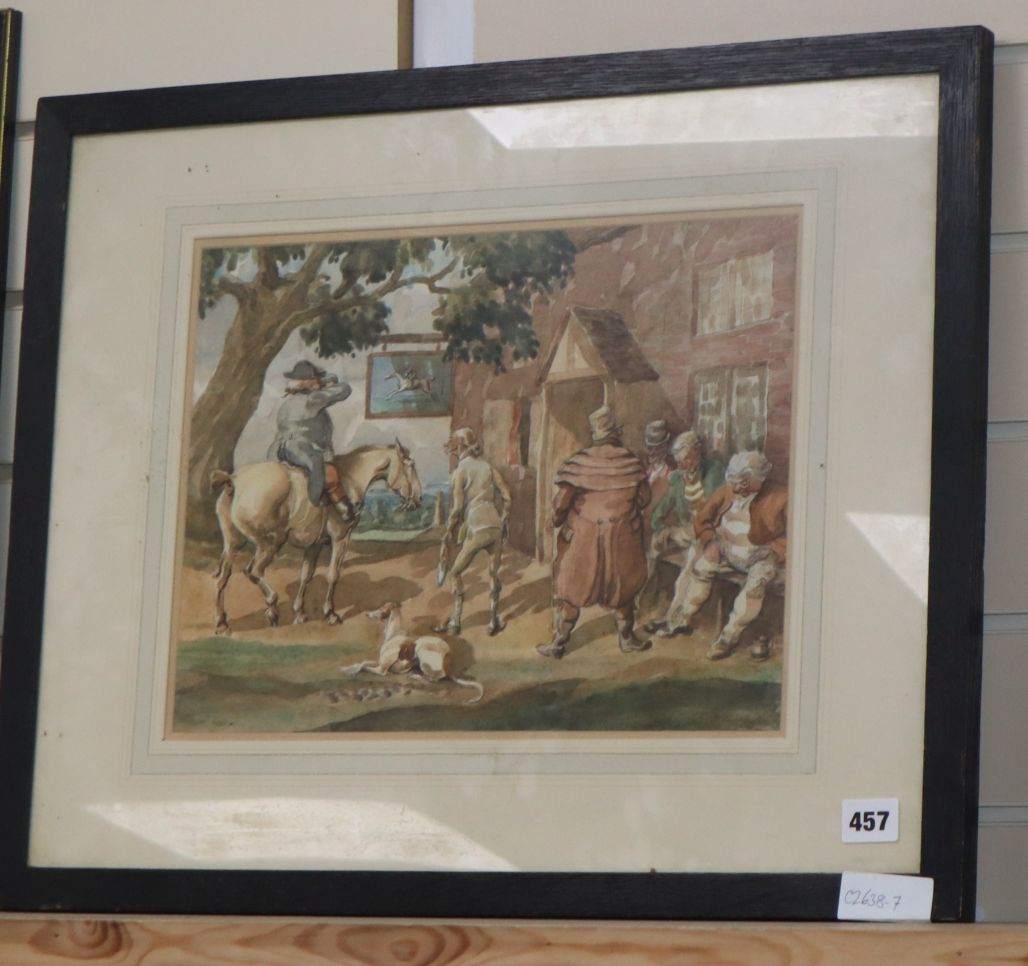 Lot 457 - 19th century English School, watercolour, Figures outside a tavern, indistinctly signed, 27 x 36cm