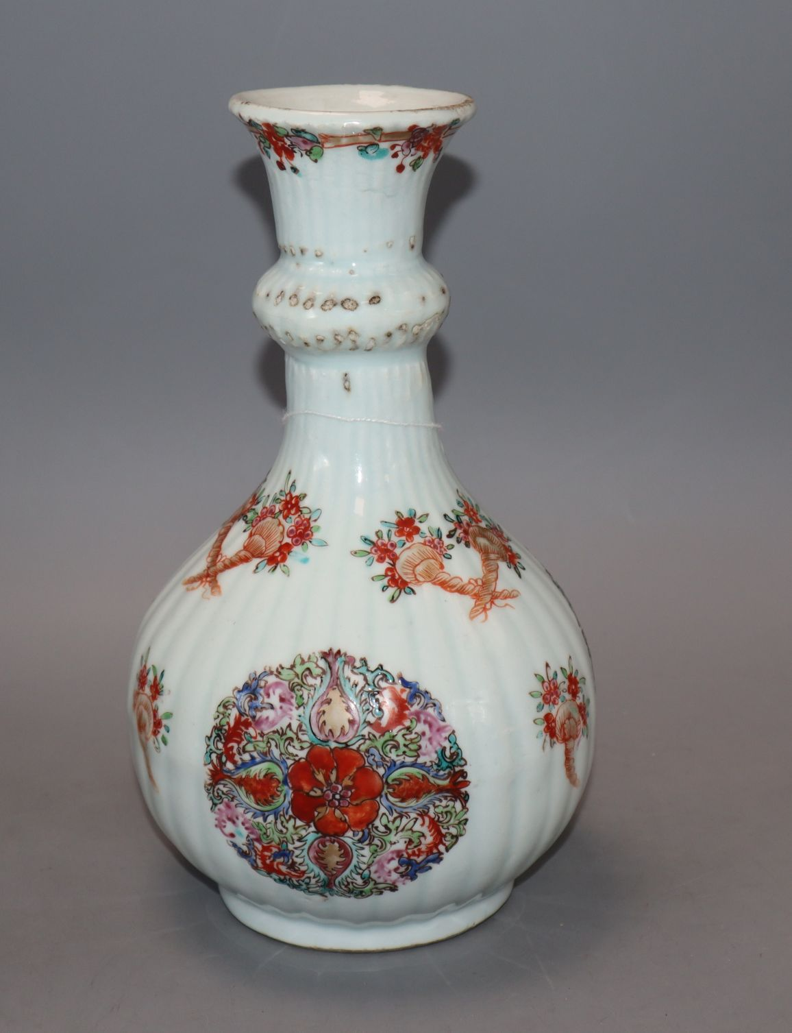 Lot 221 - A Chinese famille rose garlic neck vase, Yongzheng period