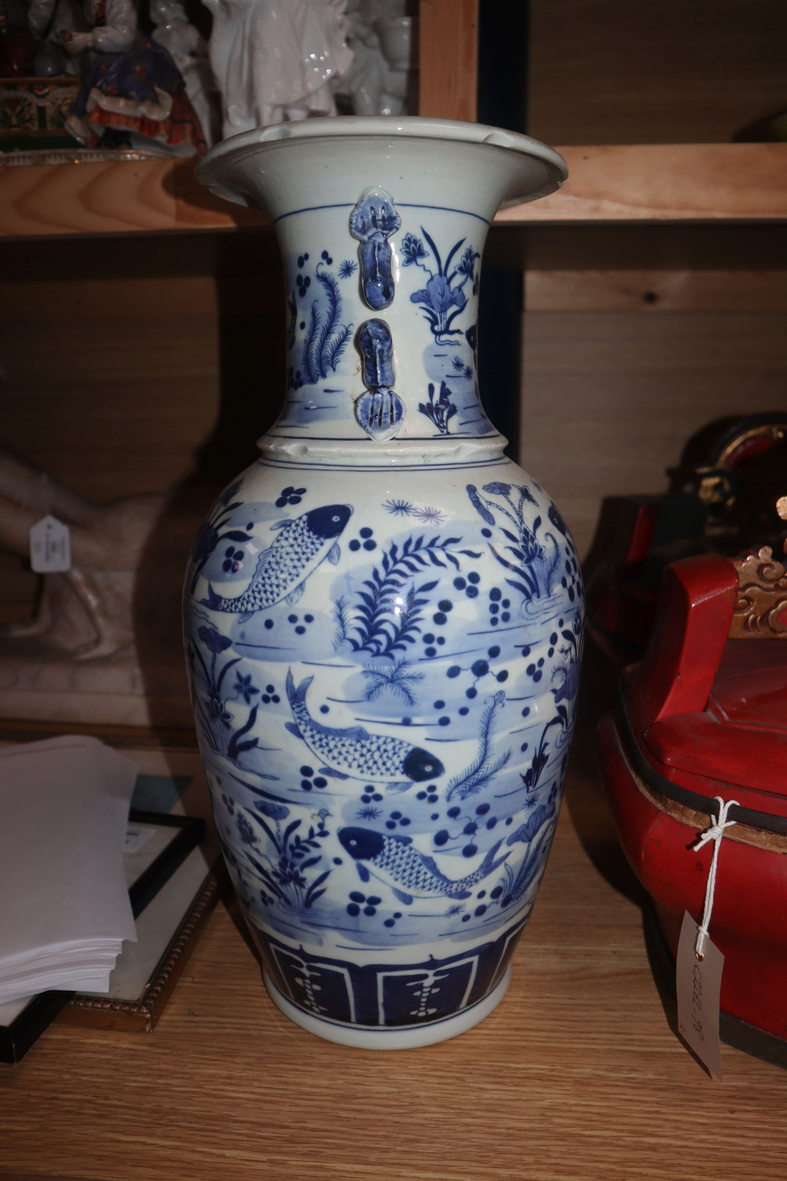A Chinese blue and white fish vase height 43cm - Image 5 of 10