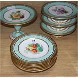 A 19th century dessert set with gilt border and floral centres