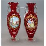 A pair of hand painted Venetian glass vases height 24.5cm