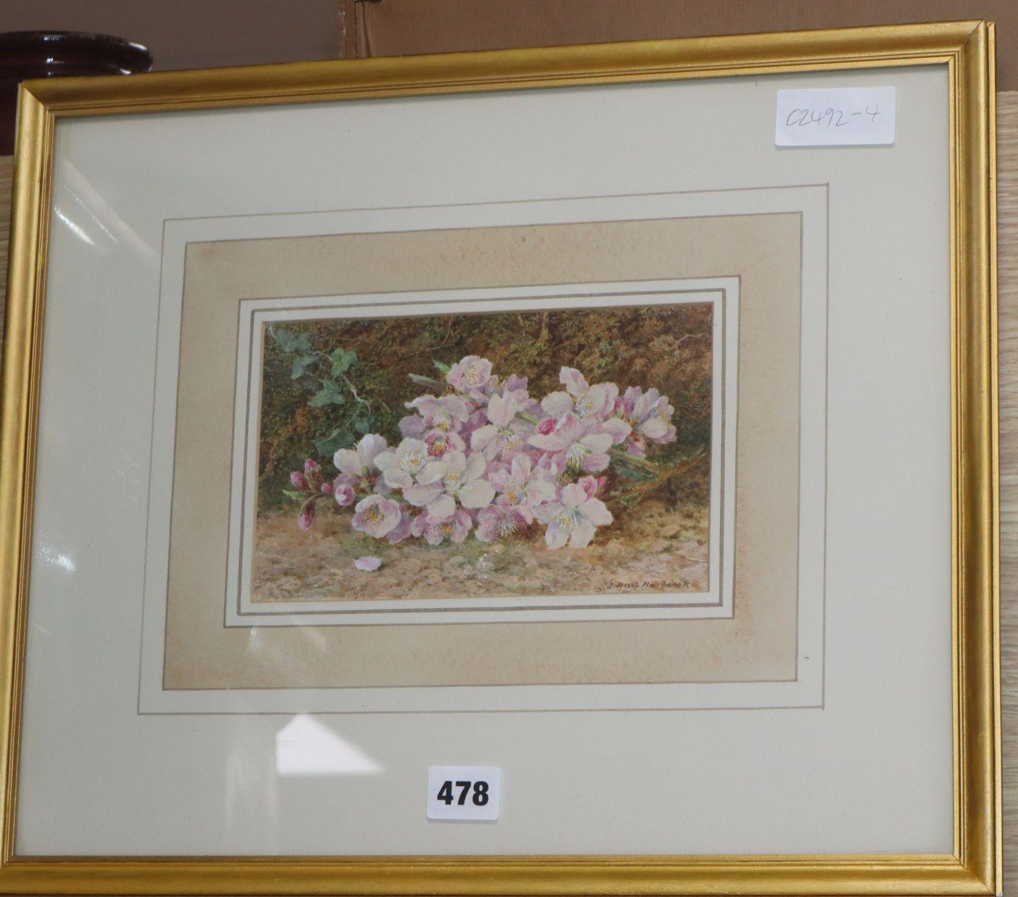 Lot 442 - John Jessop Hardwick (1831-1917), watercolour, Still life of Apple Blossom, signed, 12 x 20cm