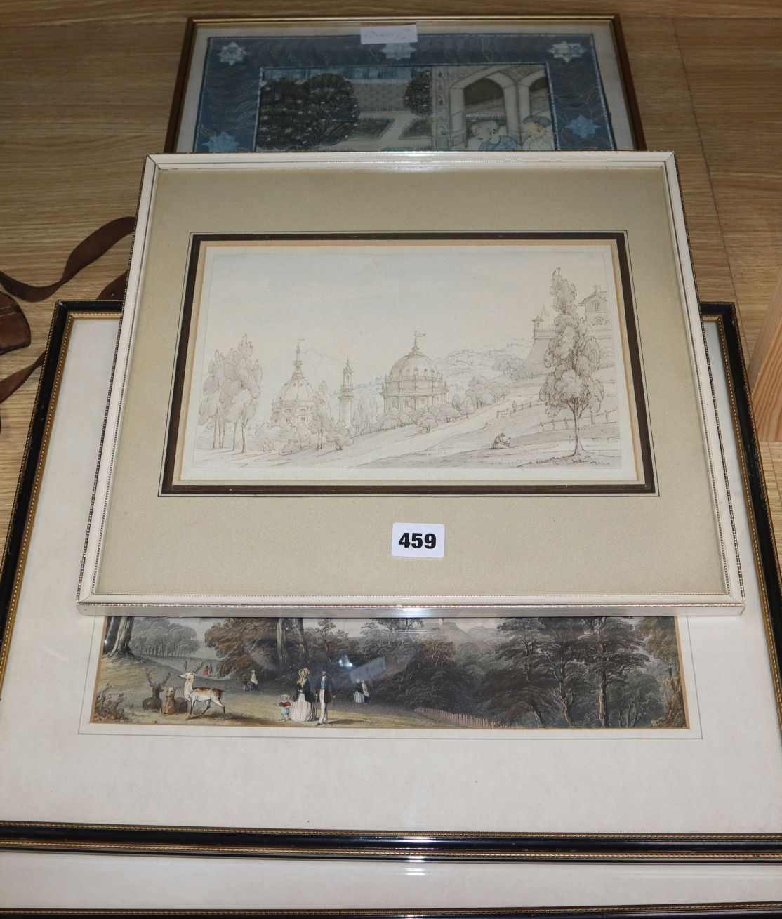 Lot 459 - 19th century English School, ink and wash, View of a hillside palace, 17 x 26.5cm and three assorted